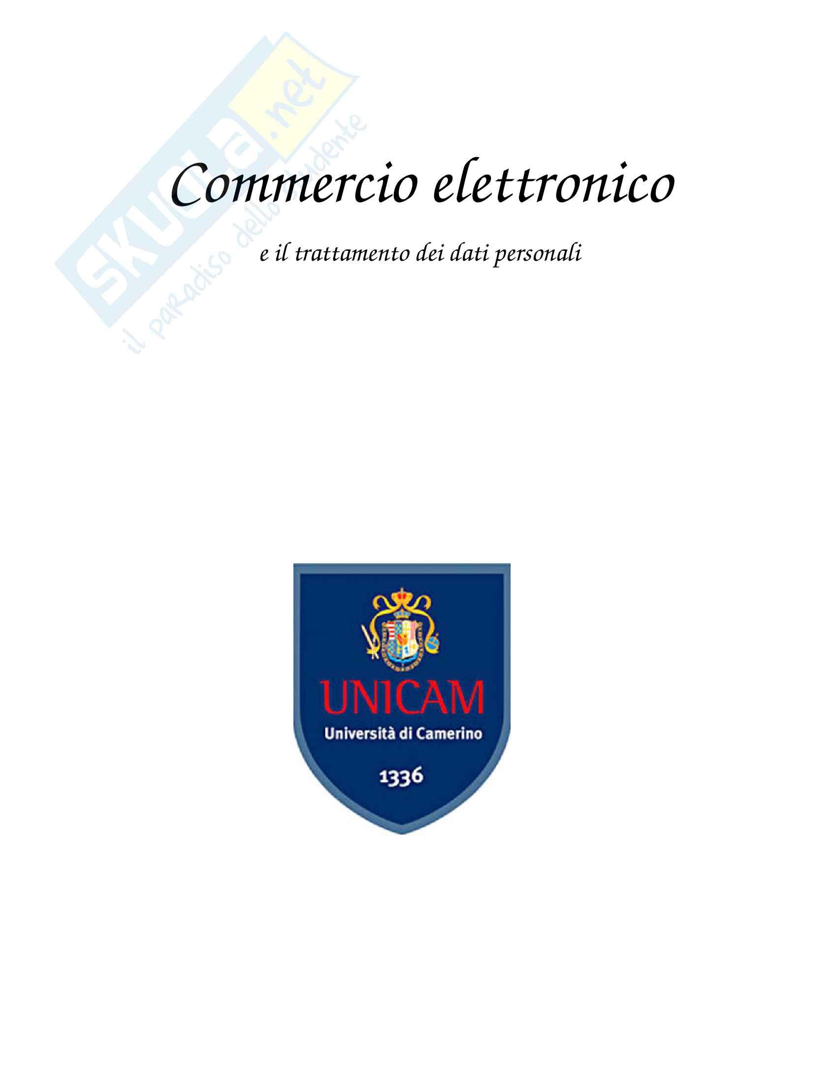 DOC Tesina di fine corso: Commercio elettronico e il trattamento dei dati personali