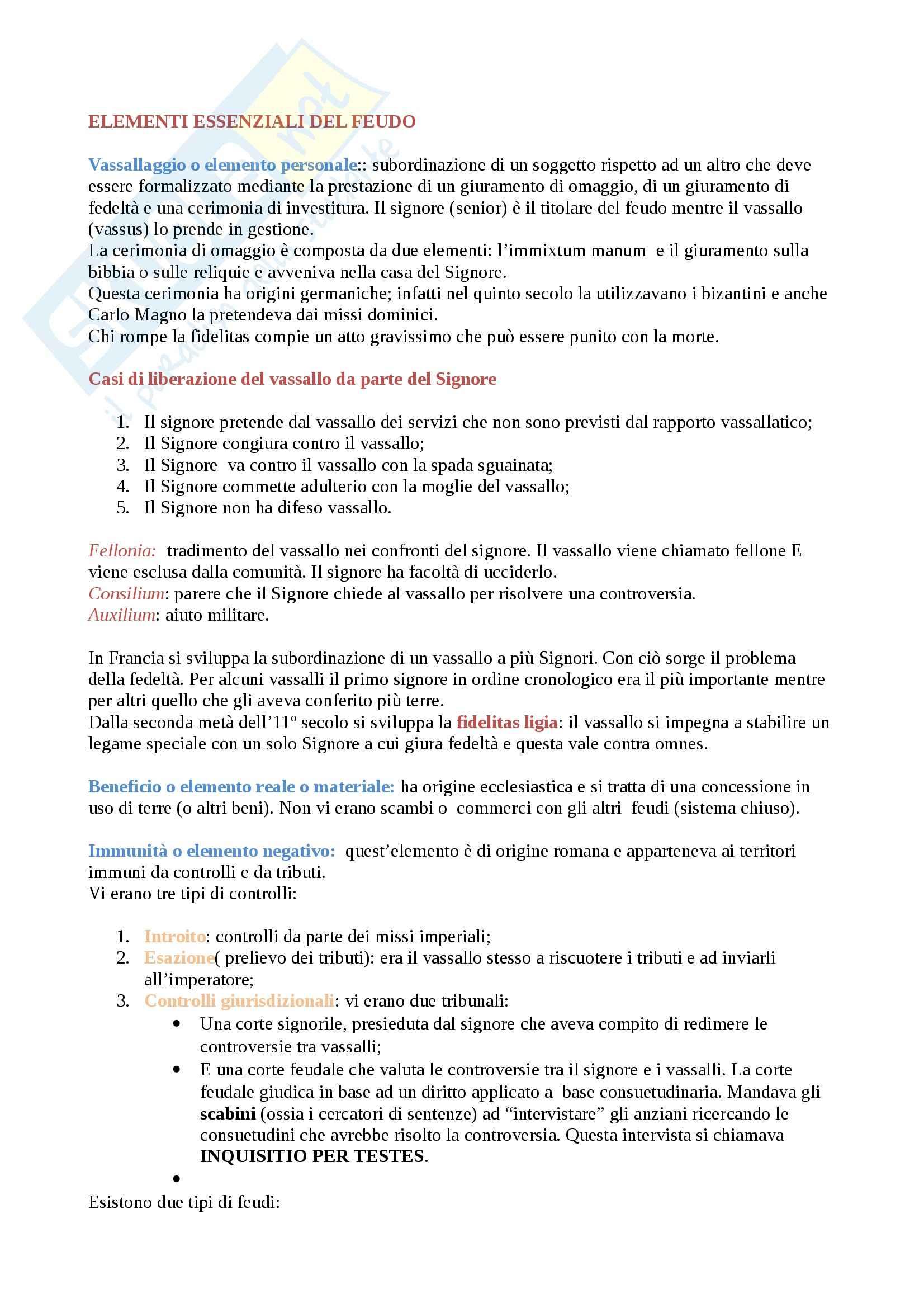 Elementi essenziali del feudo, Storia del diritto