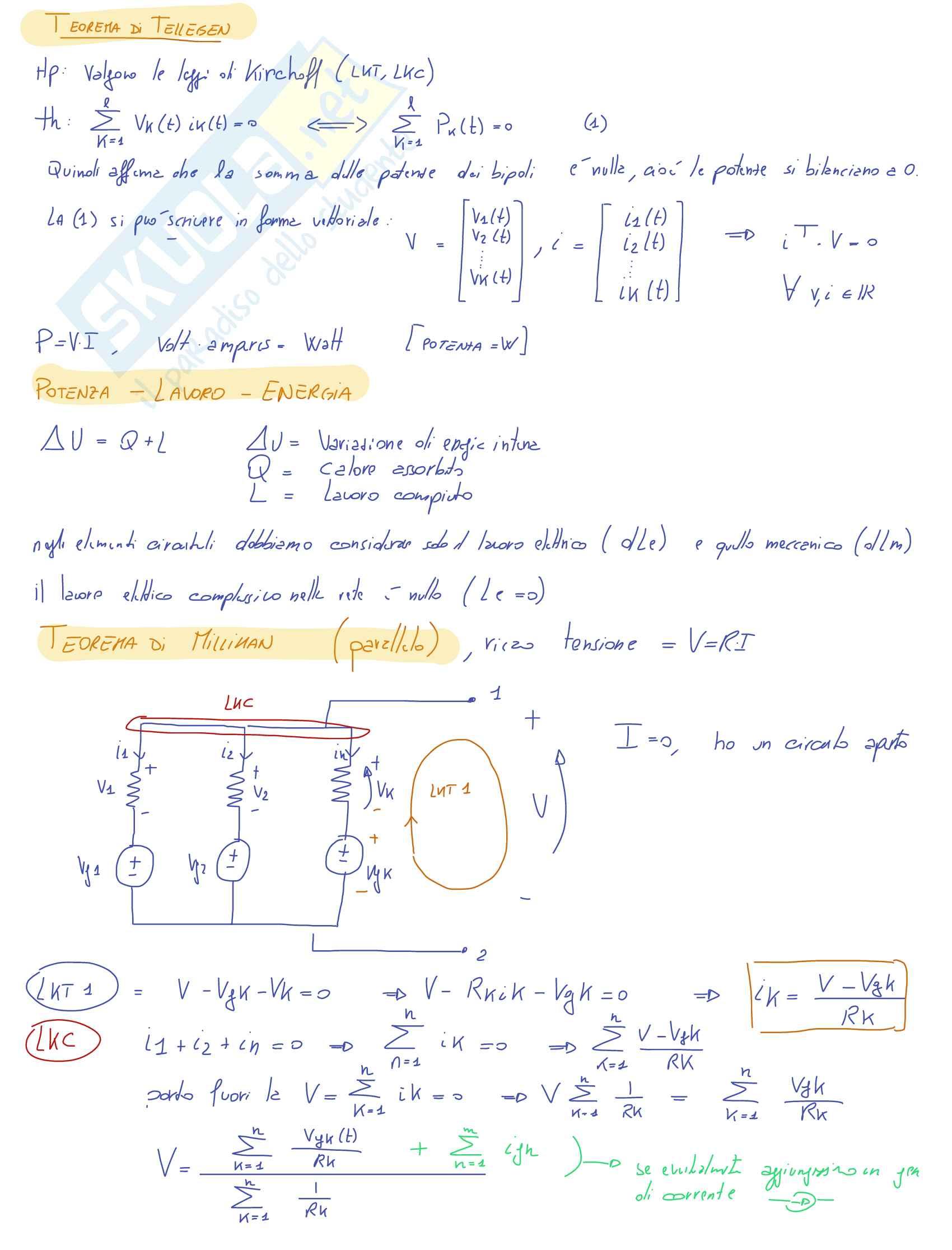 Orale completo Teoria Elettrotecnica - Appunti