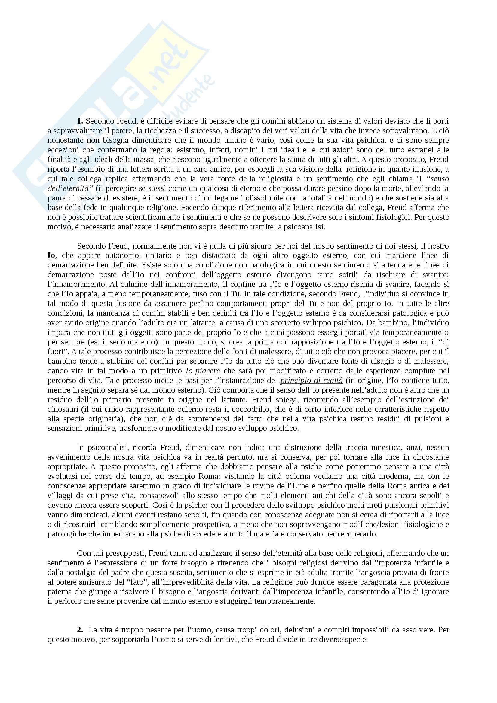 Riassunto esame Psicologia dinamica, prof. De Rosa, libro consigliato Il disagio della civiltà, Freud