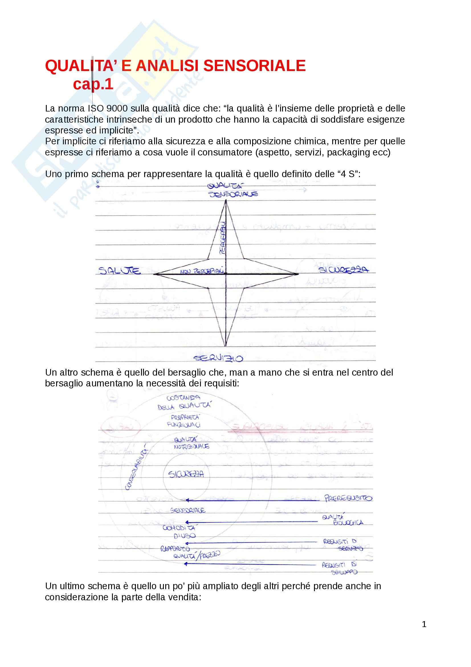 appunto A. Pagliarini Analisi sensoriali ed elaborazione dei dati