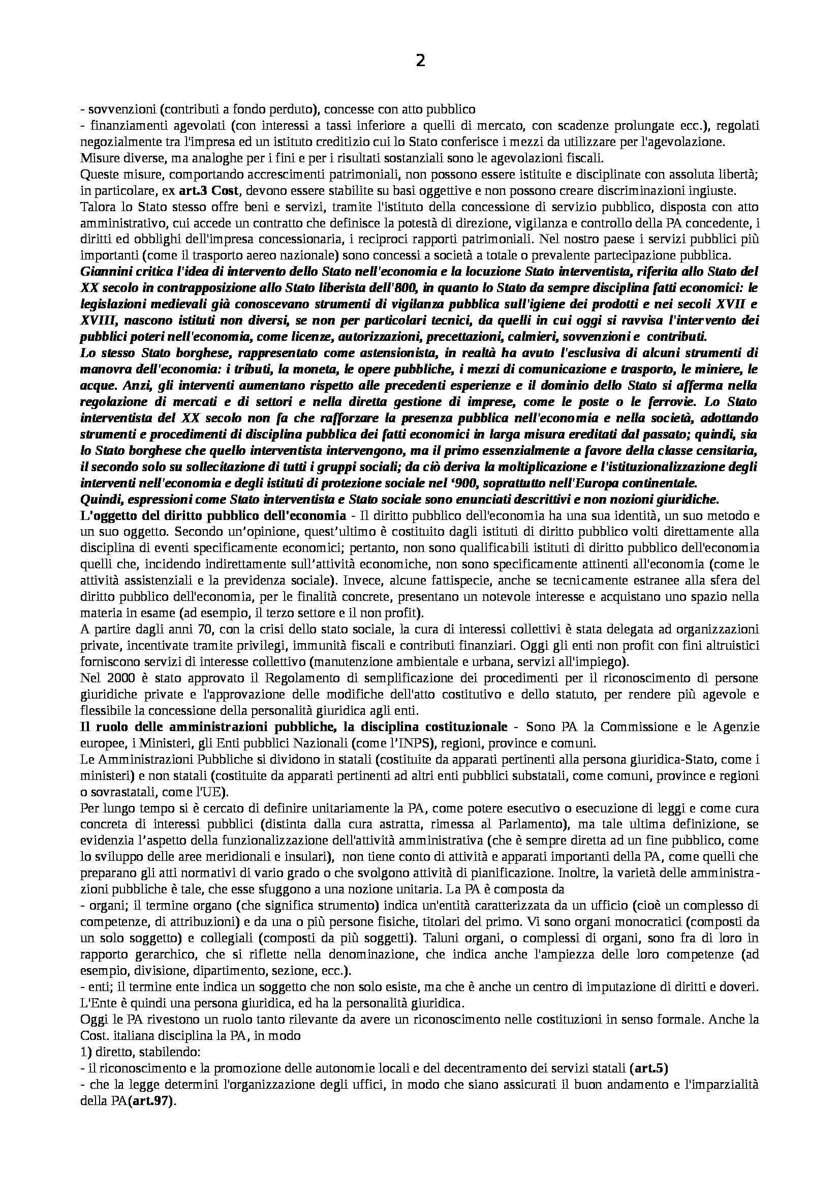 Riassunto esame Diritto Pubblico dell'Economia, prof. Capunzo, libro consigliato Argomenti di Diritto Pubblico dell'Economia di Capunzo Pag. 2