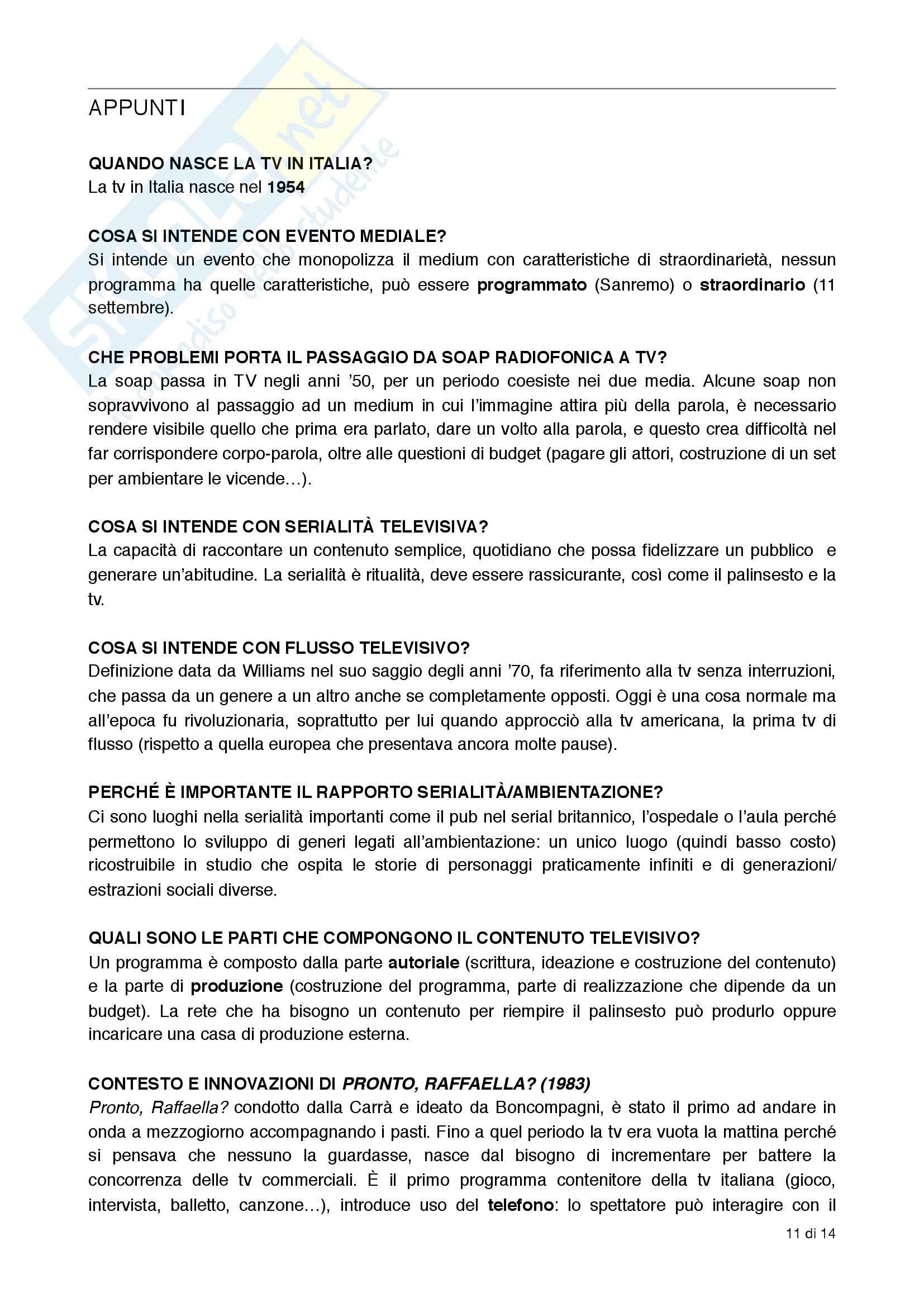 Domande: teorie e tecniche del linguaggio televisivo Pag. 11