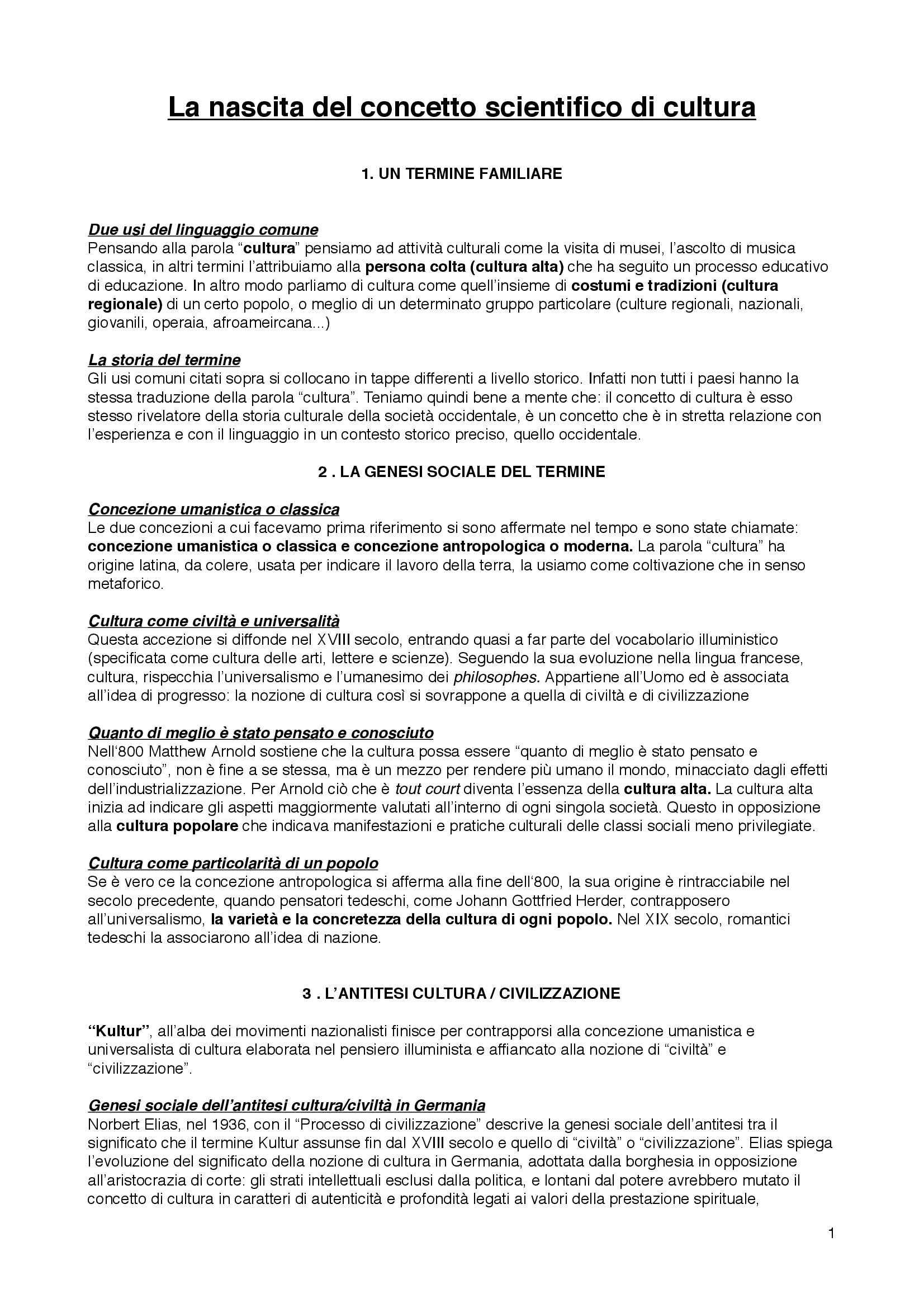 Riassunto esame Sociologia della cultura, prof. Bartoletti, libro consigliato Sociologia dei processi culturali, Sciolla
