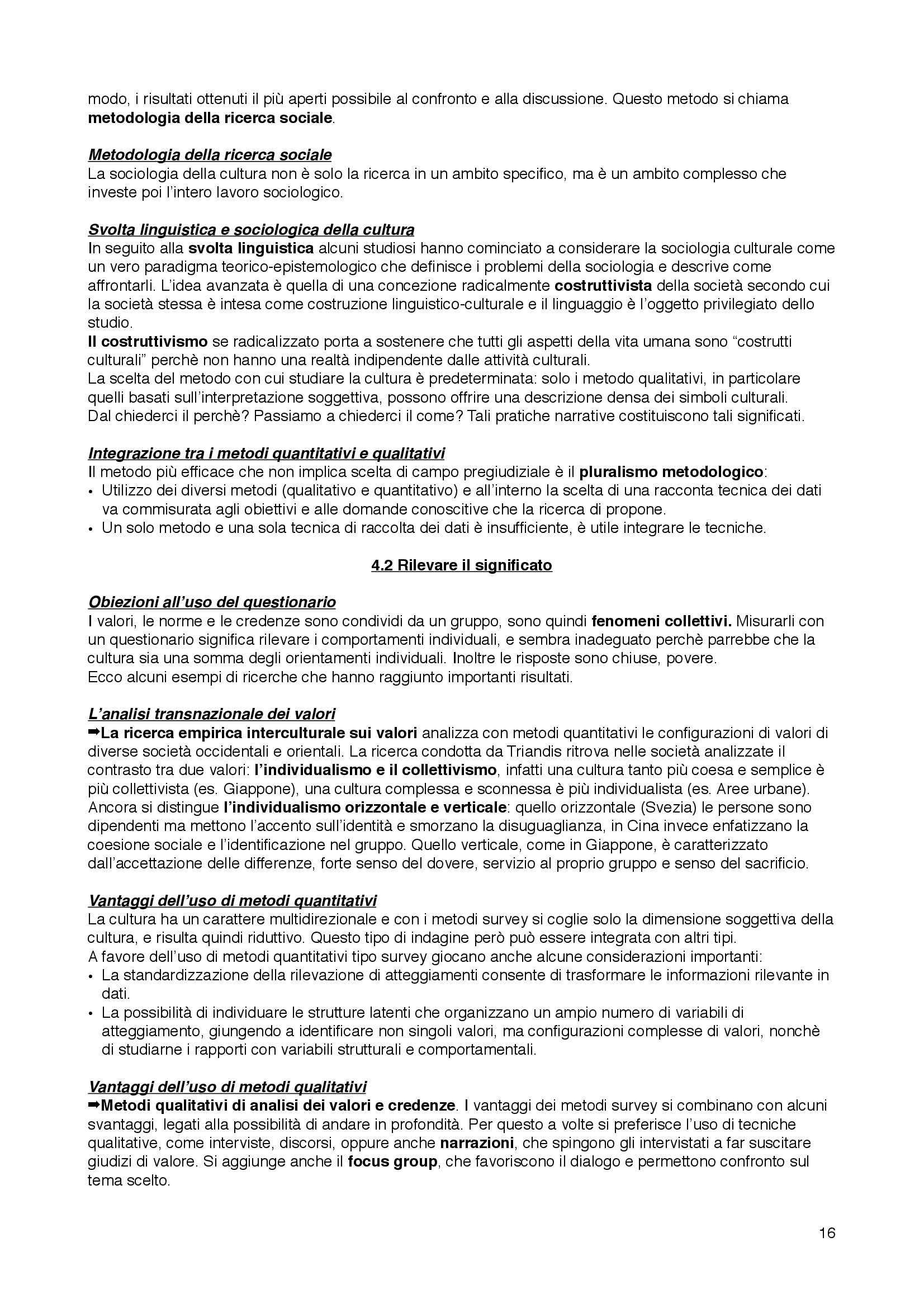 Riassunto esame Sociologia della cultura, prof. Bartoletti, libro consigliato Sociologia dei processi culturali, Sciolla Pag. 16