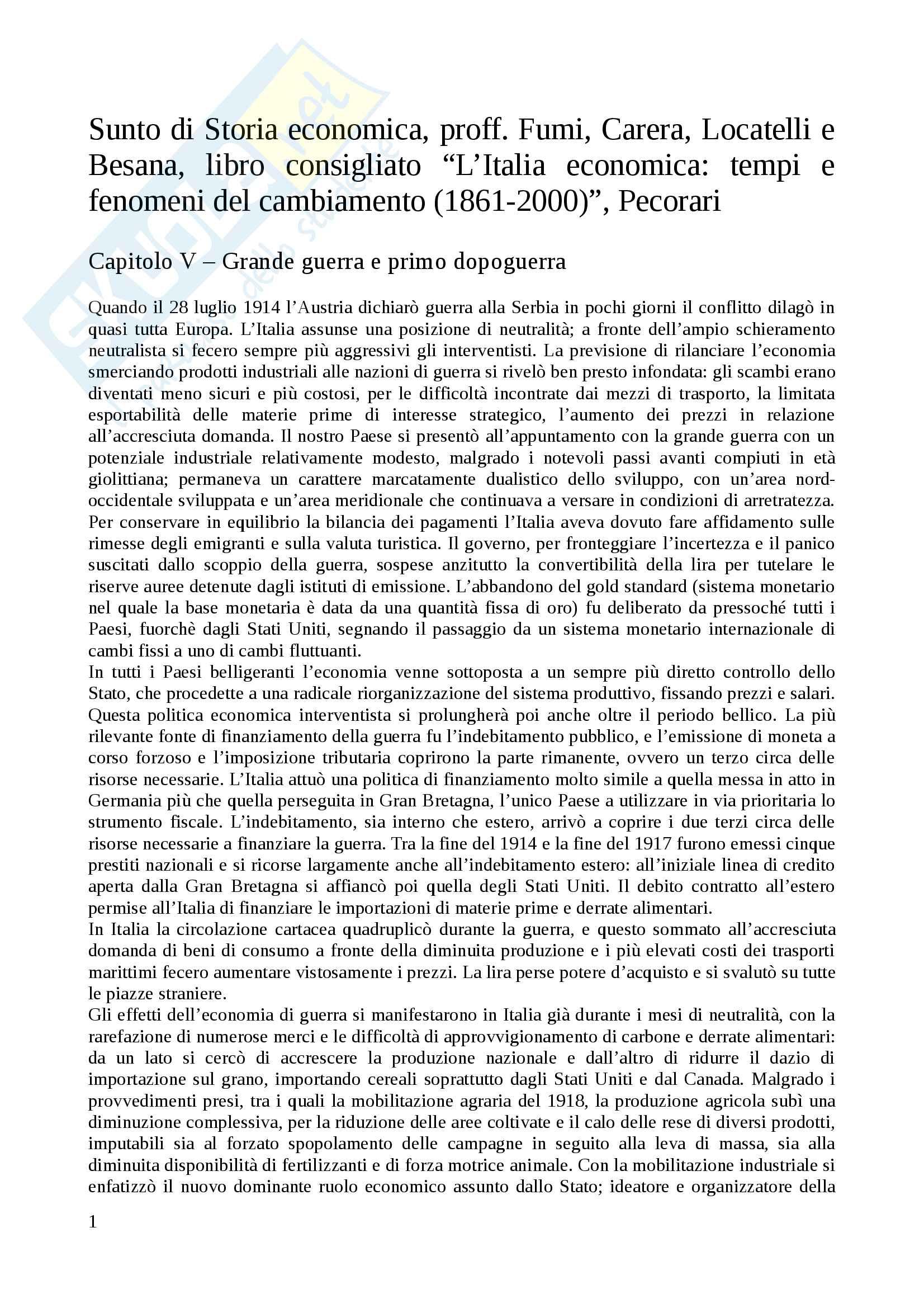 Riassunto esame Storia economica, proff. Fumi, Carera, Locatelli e Besana, libro consigliato L'Italia economica: tempi e fenomeni del cambiamento (1861-2000), Pecorari