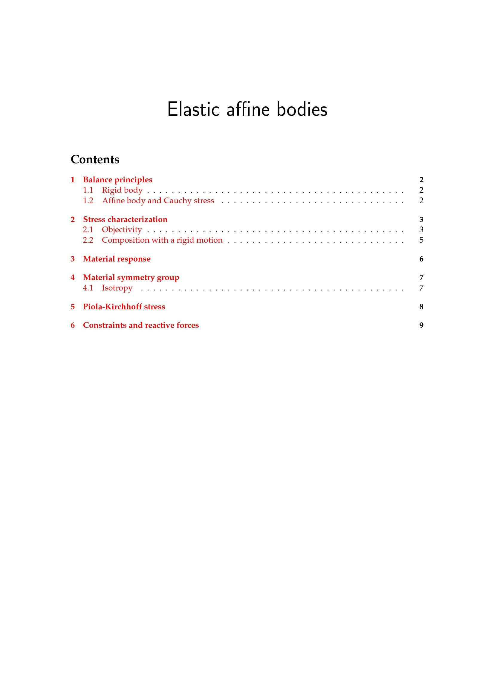 Bodies, elastic affine