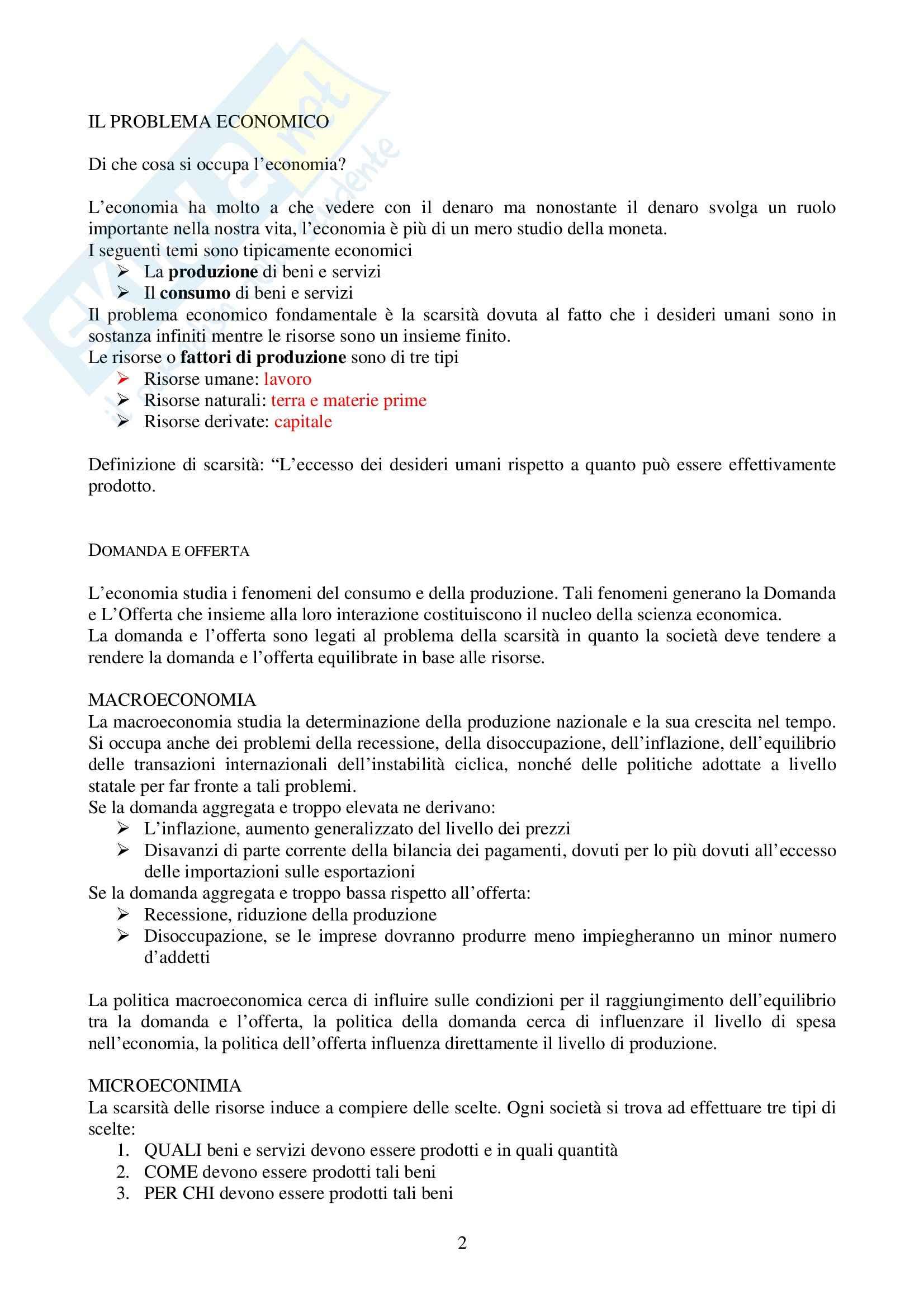 Riassunto esame Economia Politica, prof. Screpanti, libro consigliato Elementi di Economia, Sloman