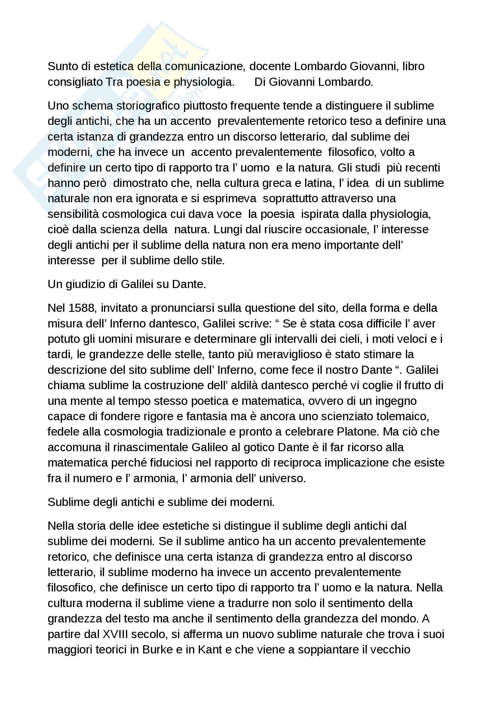 Riassunto esame estetica della comunicazione, docente Lombardo, libro consigliato Tra poesia e physiologia di Lombardo