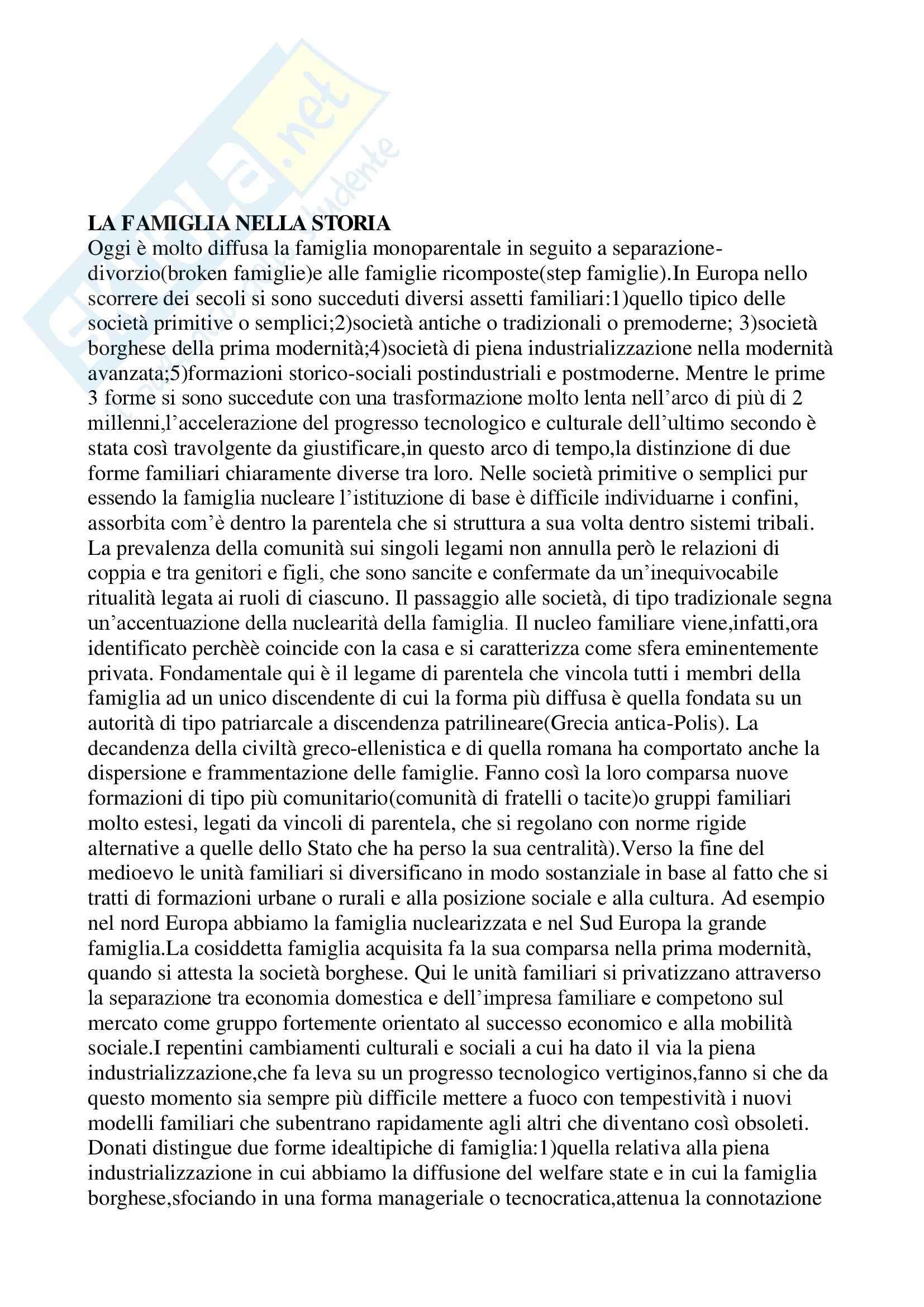 Riassunto esame Psicologia della prevenzione, prof. Zingales, libro consigliato Il Famigliare di Scabini, Cigoli