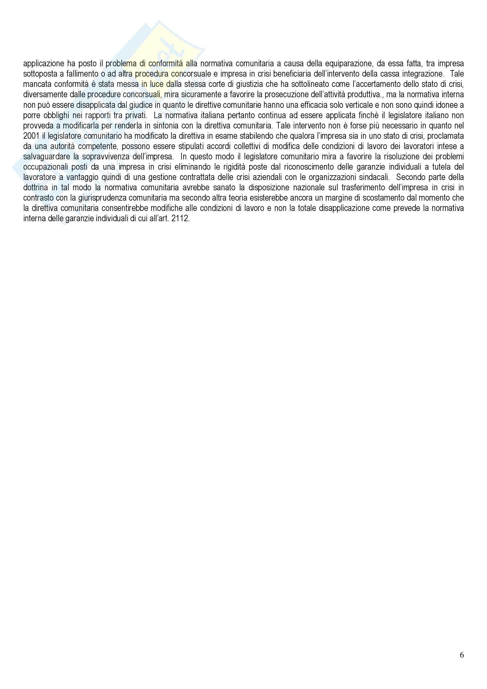 Riassunto esame per Diritto del Lavoro, prof. Santoro-Passarelli, libro consigliato Trasferimento d'Azienda e Rapporto di Lavoro Pag. 6