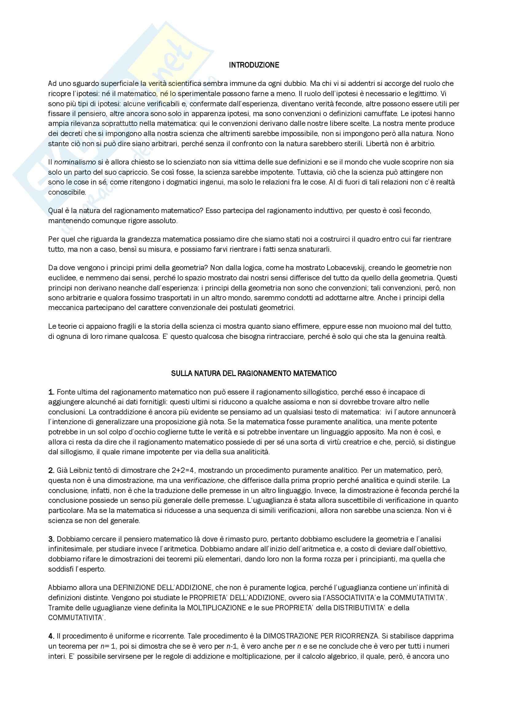Riassunto esame Storia della Filosofia Contemporanea, prof. Pettoello, libro consigliato La Scienza e l'Ipotesi, Poincarè