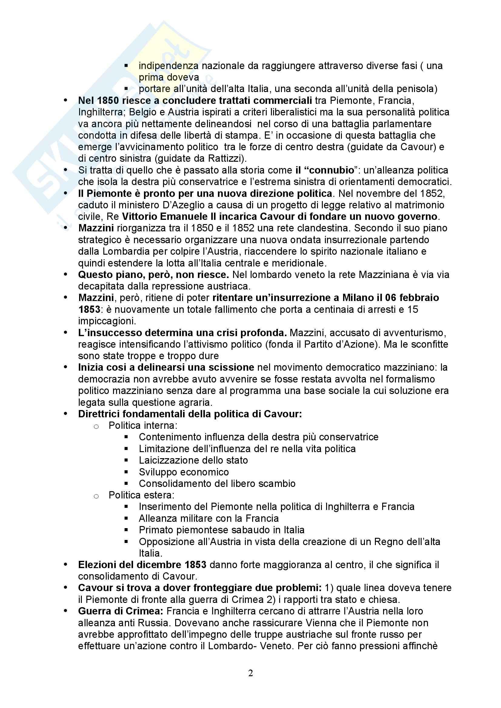 Storia Contemporanea - dall'unità d'Italia al secondo dopoguerra Pag. 2