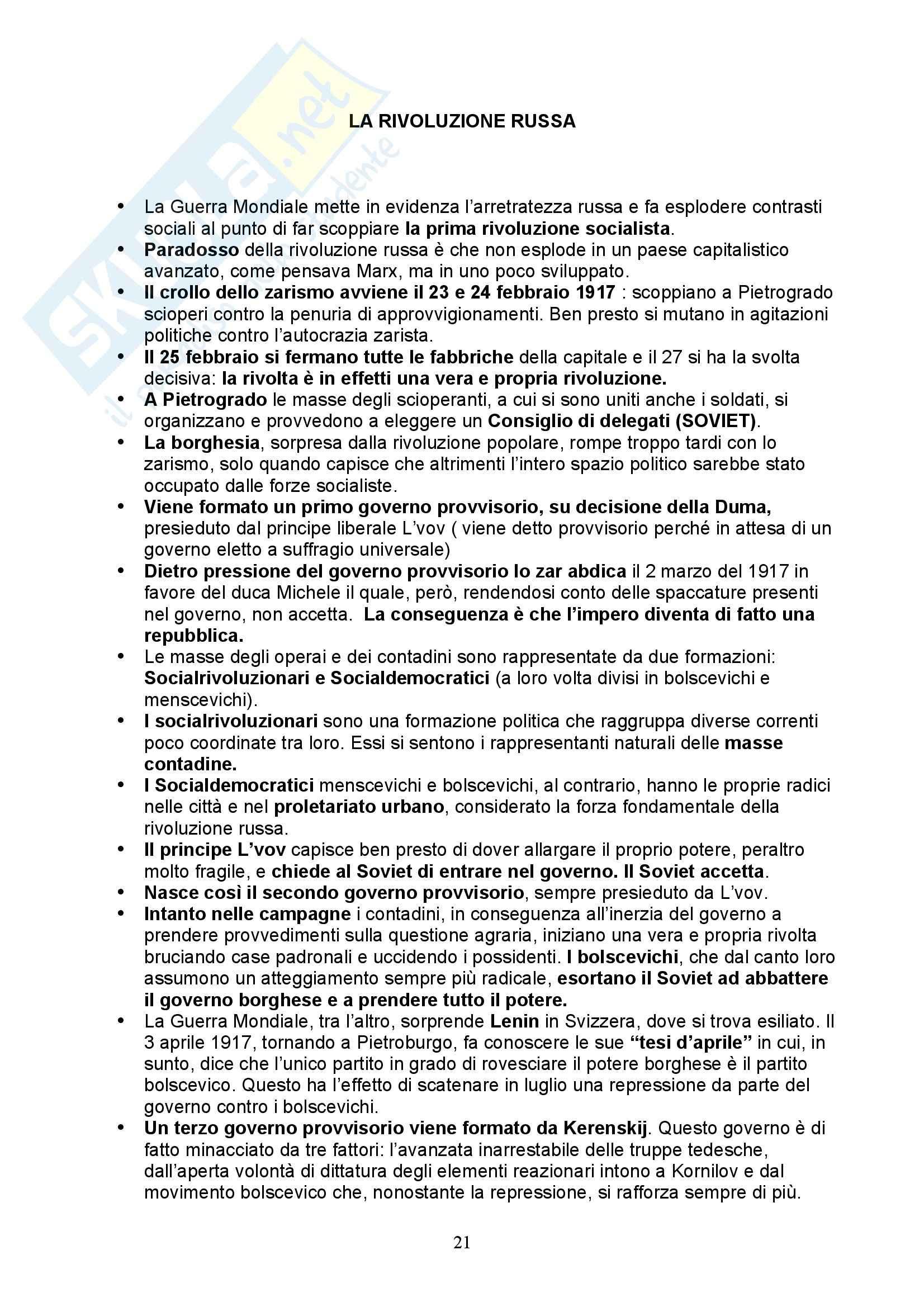 Storia Contemporanea - dall'unità d'Italia al secondo dopoguerra Pag. 21