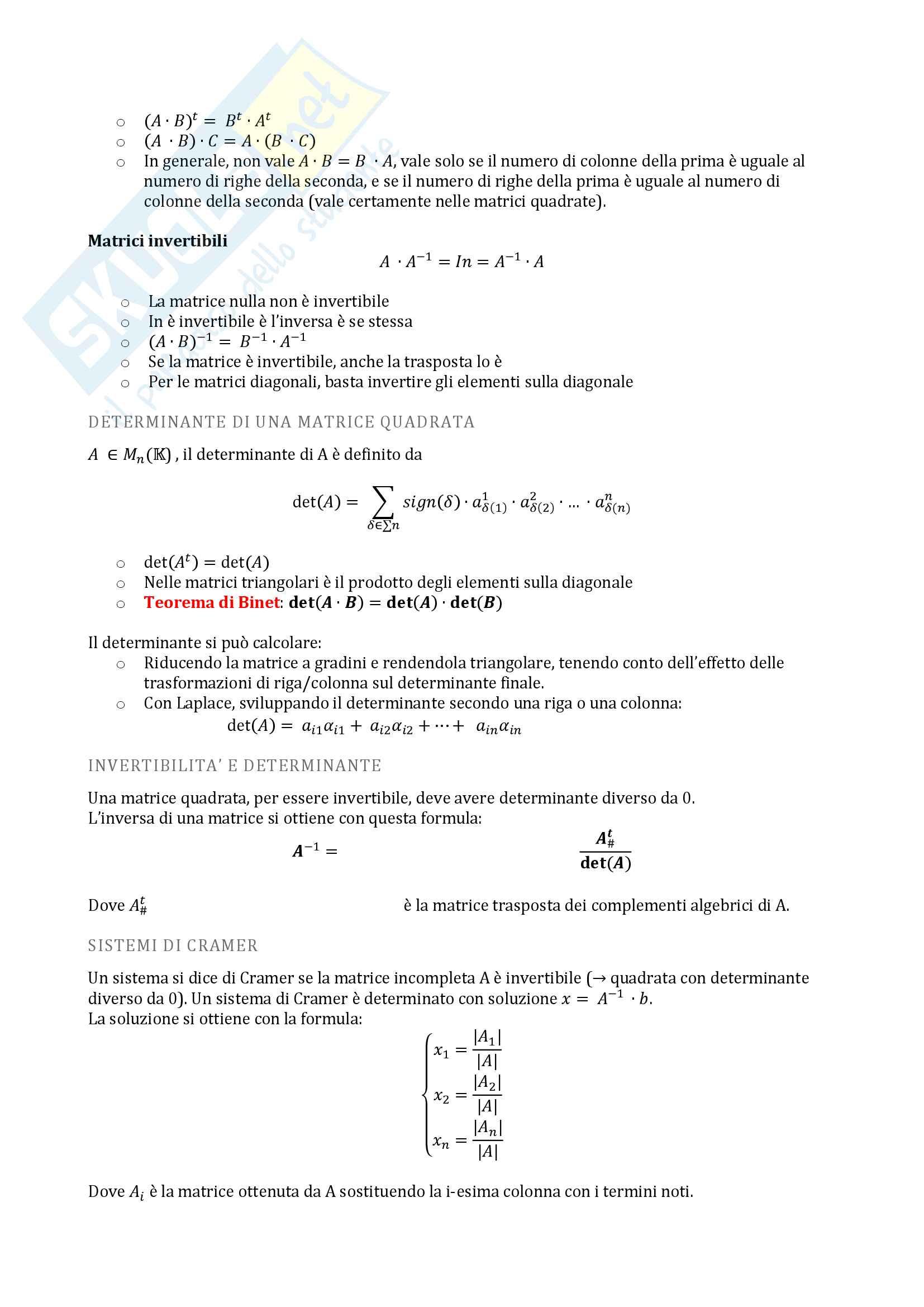 Algebra lineare Pag. 2