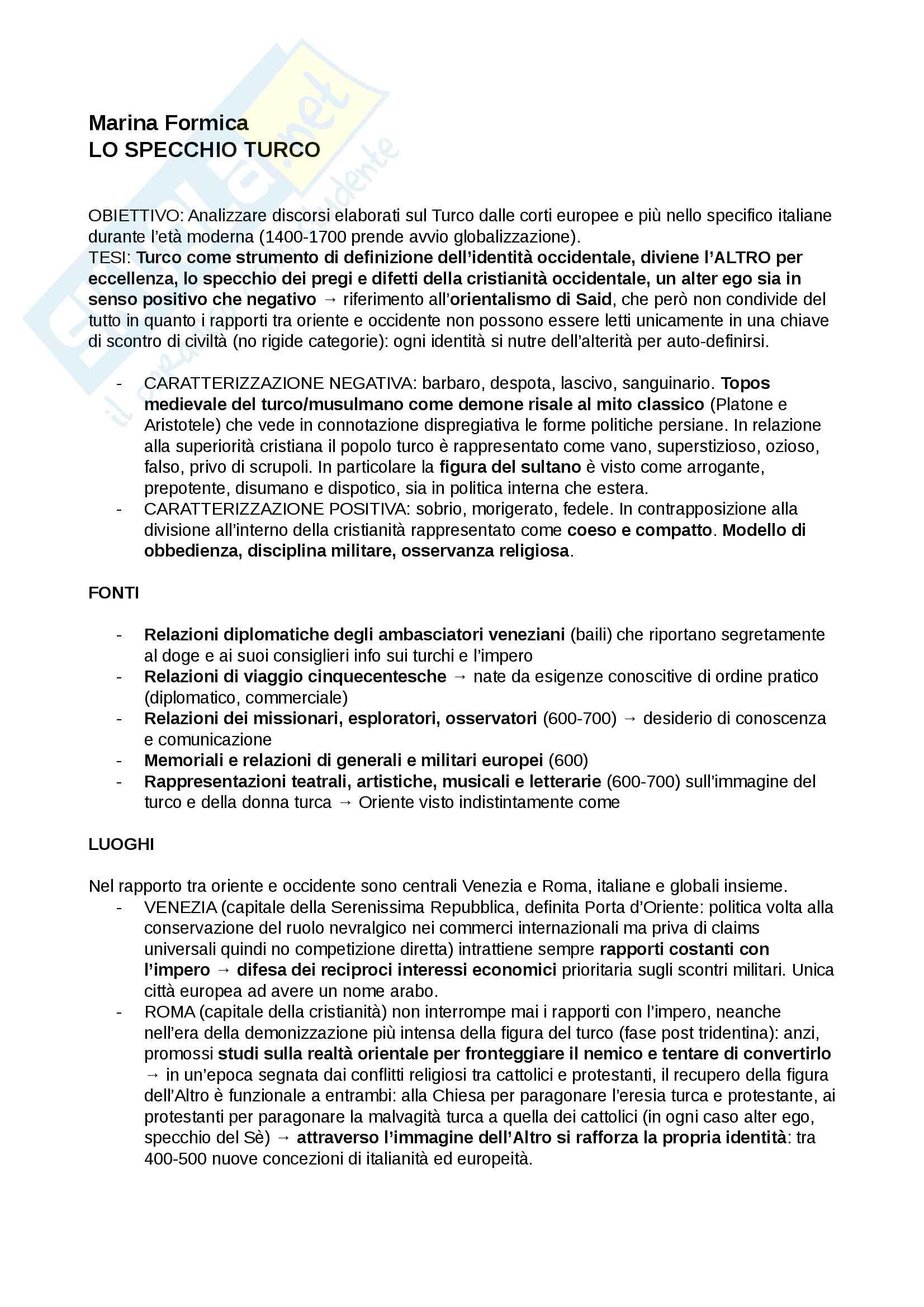Riassunto esame storia culturale, prof. Negruzzo, libro consigliato Lo specchio turco, Formica