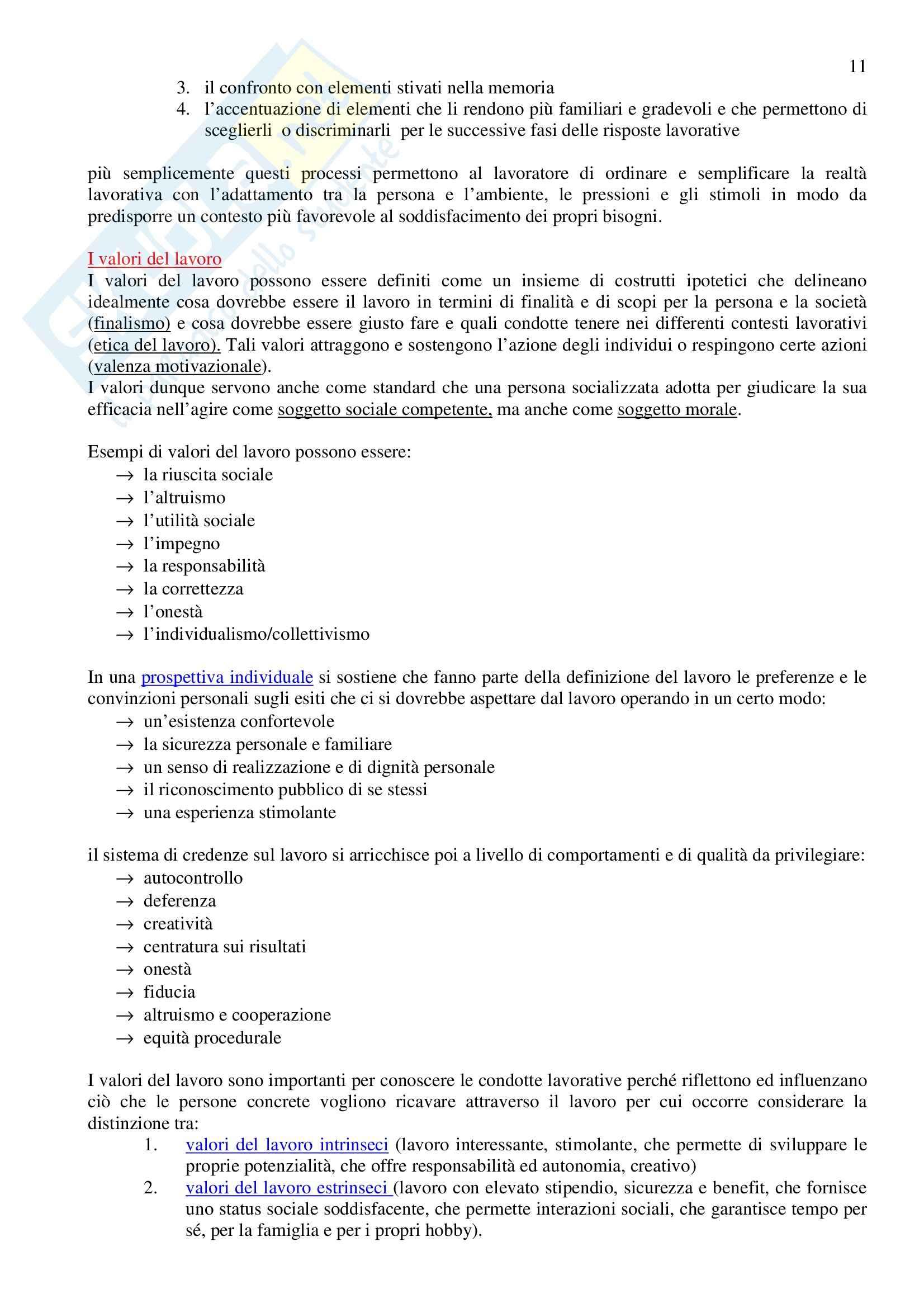 Riassunto esame Psicologia del Lavoro, prof. Sarchelli, libro consigliato Psicologia del Lavoro, Sarchielli Pag. 11