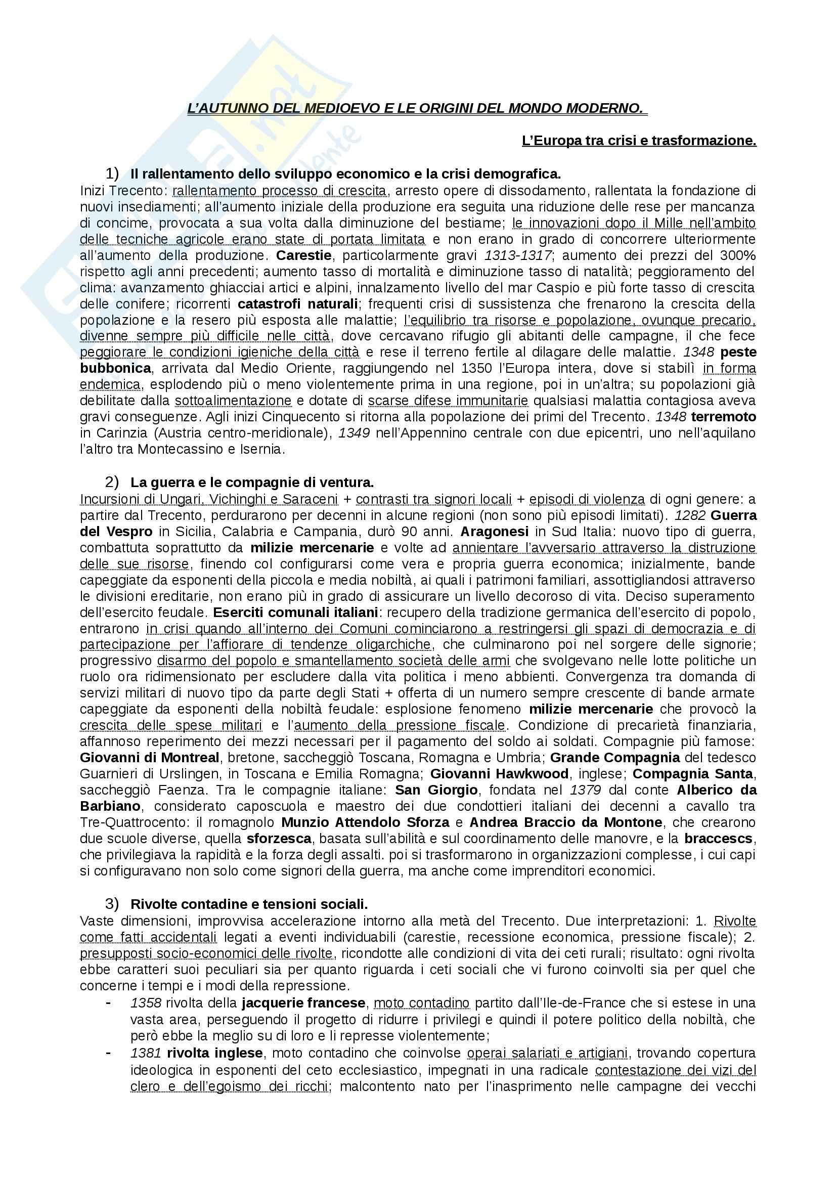 Riassunto esame Storia Medievale, prof. Figliuolo, libro consigliato Medioevo, Vitolo - quarta parte