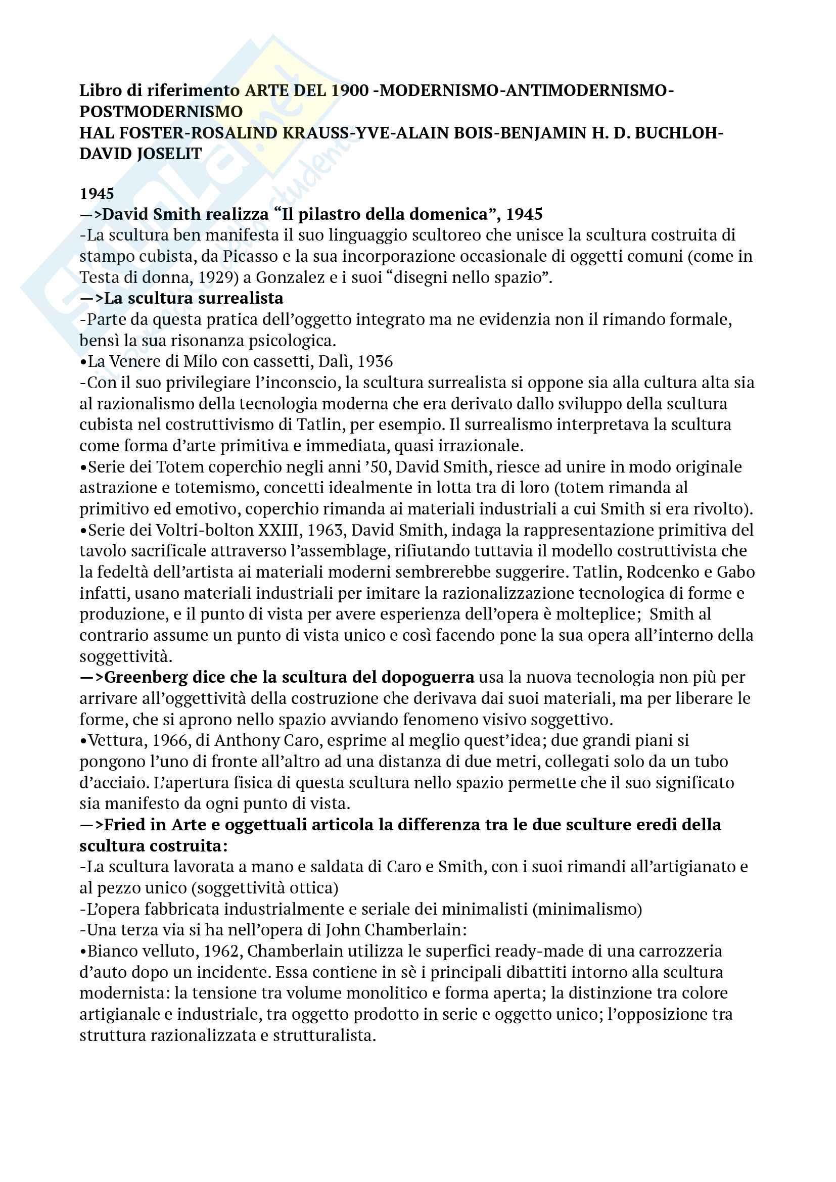 Riassunto esame storia dell'arte contemporanea, prof. Pinto, libro consigliato Arte dal 1900, Modernismo, Antimodernismo, Postmodernismo; seconda parte (1945-2010), Foster, Krauss, Bois, Buchloh, Joselit, seconda edizione