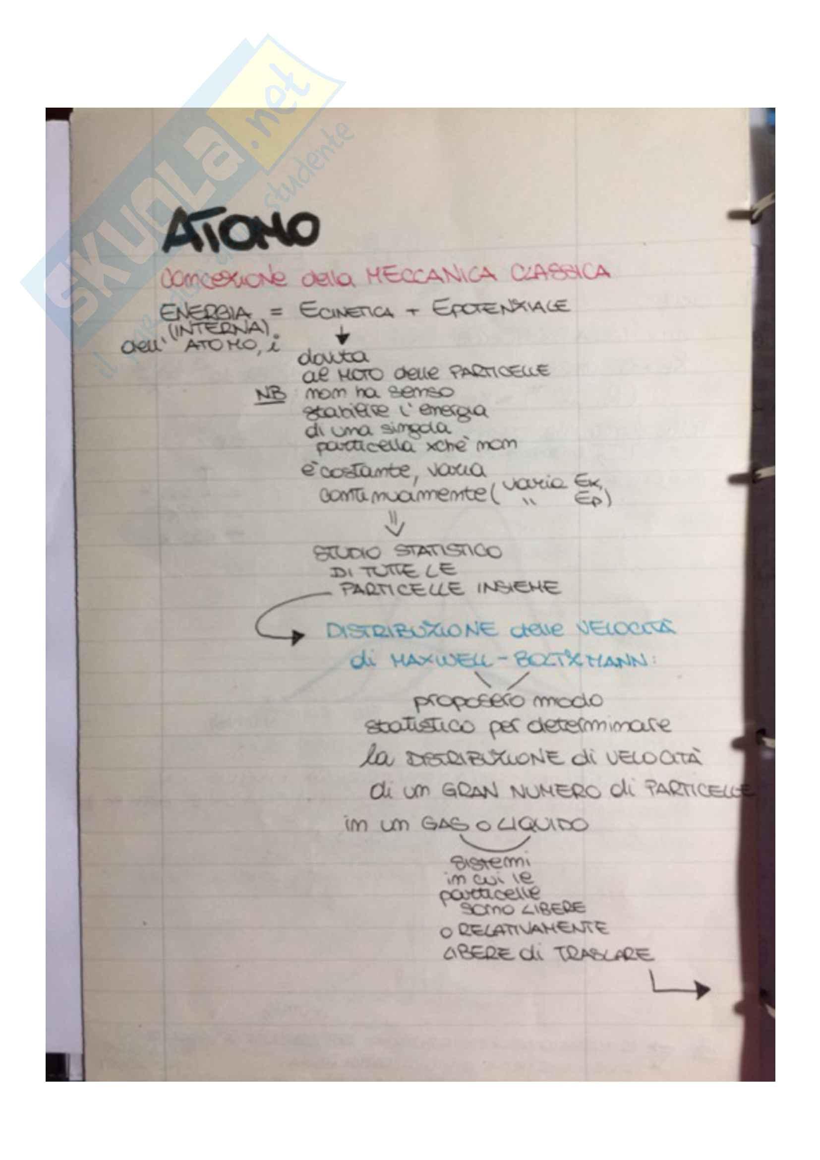 Atomo come strumento che evidenzia crisi della fisica classica: moto e energia di atomi e molecole