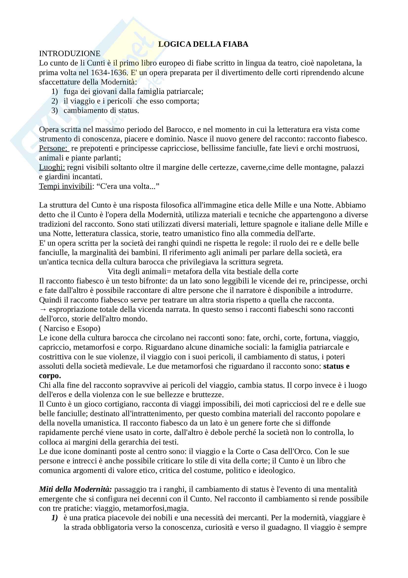 Riassunto esame letteratura italiana, prof. Scrivano, libro consigliato: Logica della fiaba fate orchi gioco corte fortuna viaggio capriccio metamorfosi corpo, Rak