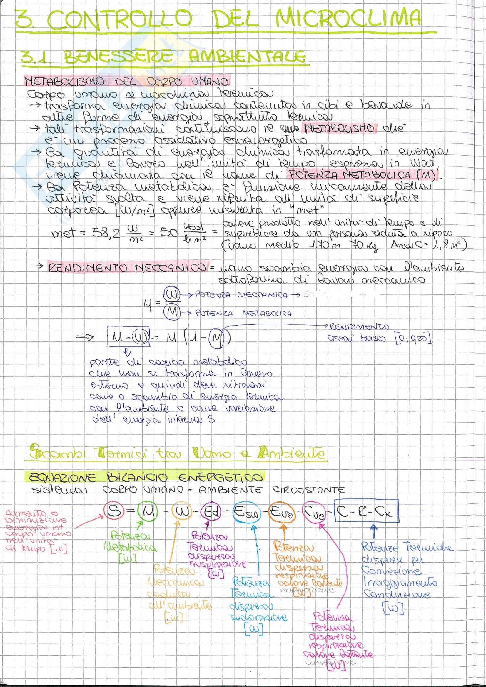 Riassunto esame Fisica Tecnica Ambientale, libro consigliato Benessere termico e qualità dell'aria interna, Moncada, lo Giudice, Coppi: Controllo del microclima