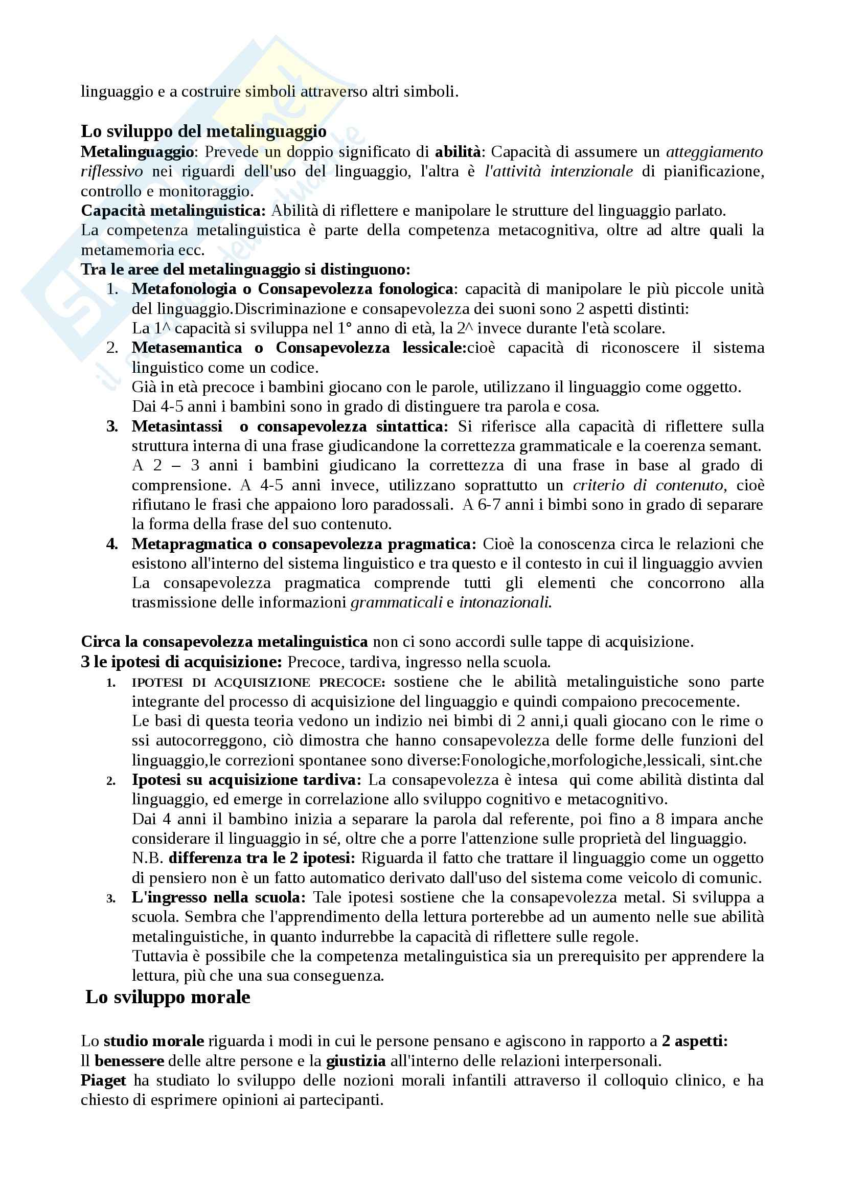 Lezioni, Psicologia dello sviluppo Pag. 31