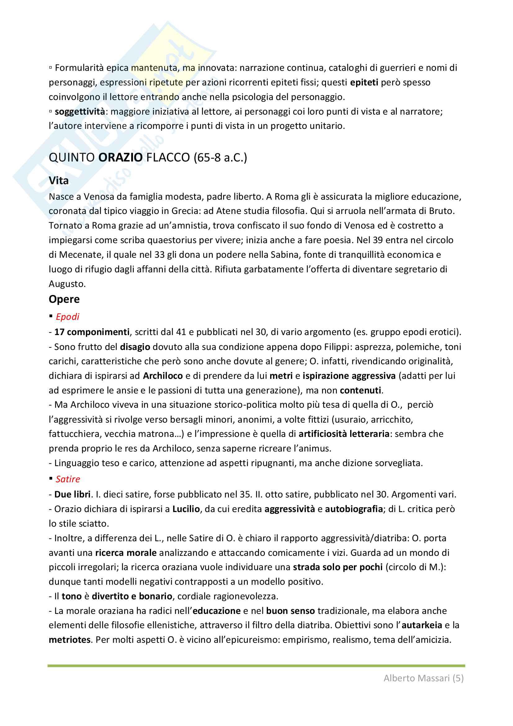 Riassunto esame letteratura latina, Prof. Silvia Stucchi, libri consigliati Conte, Pinezzola Pag. 21
