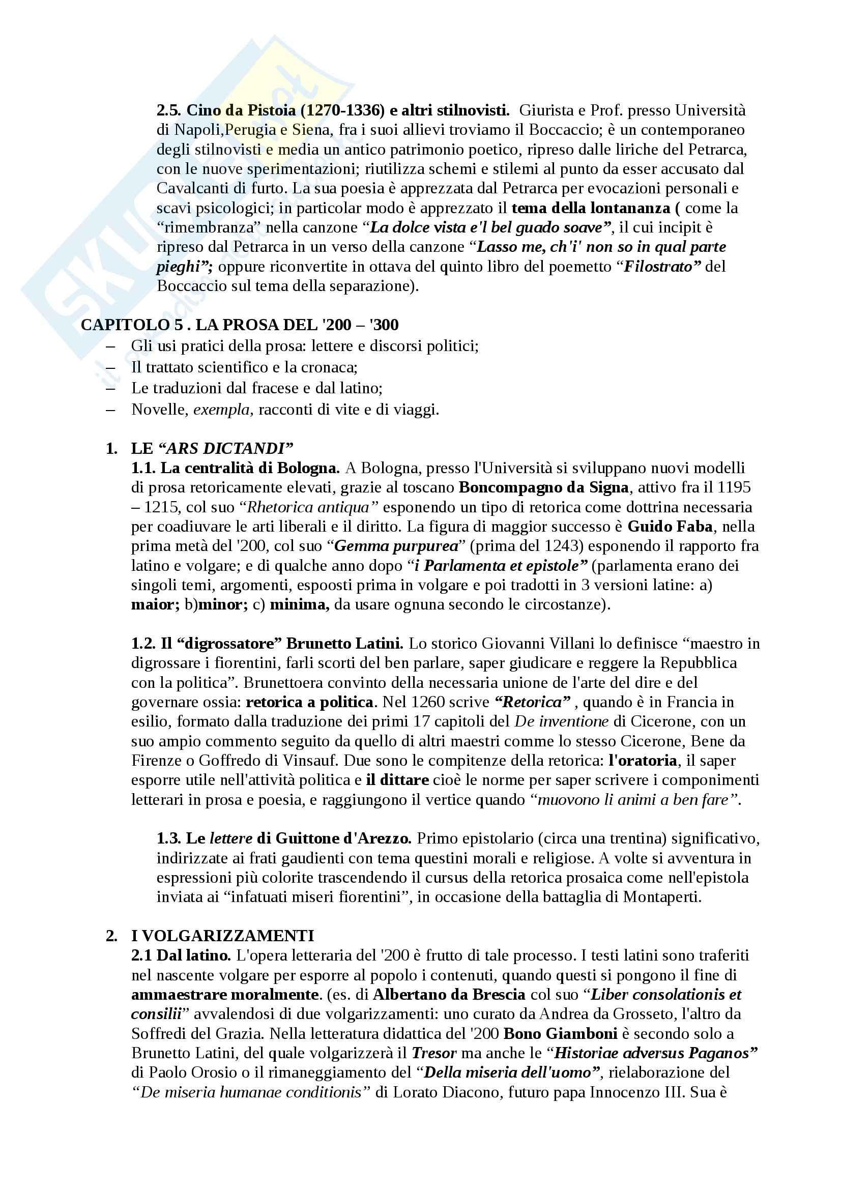 Riassunto esame Letteratura, testo consigliato Il Duecento e il Trecento, Battistini, prof. Catalano Pag. 11