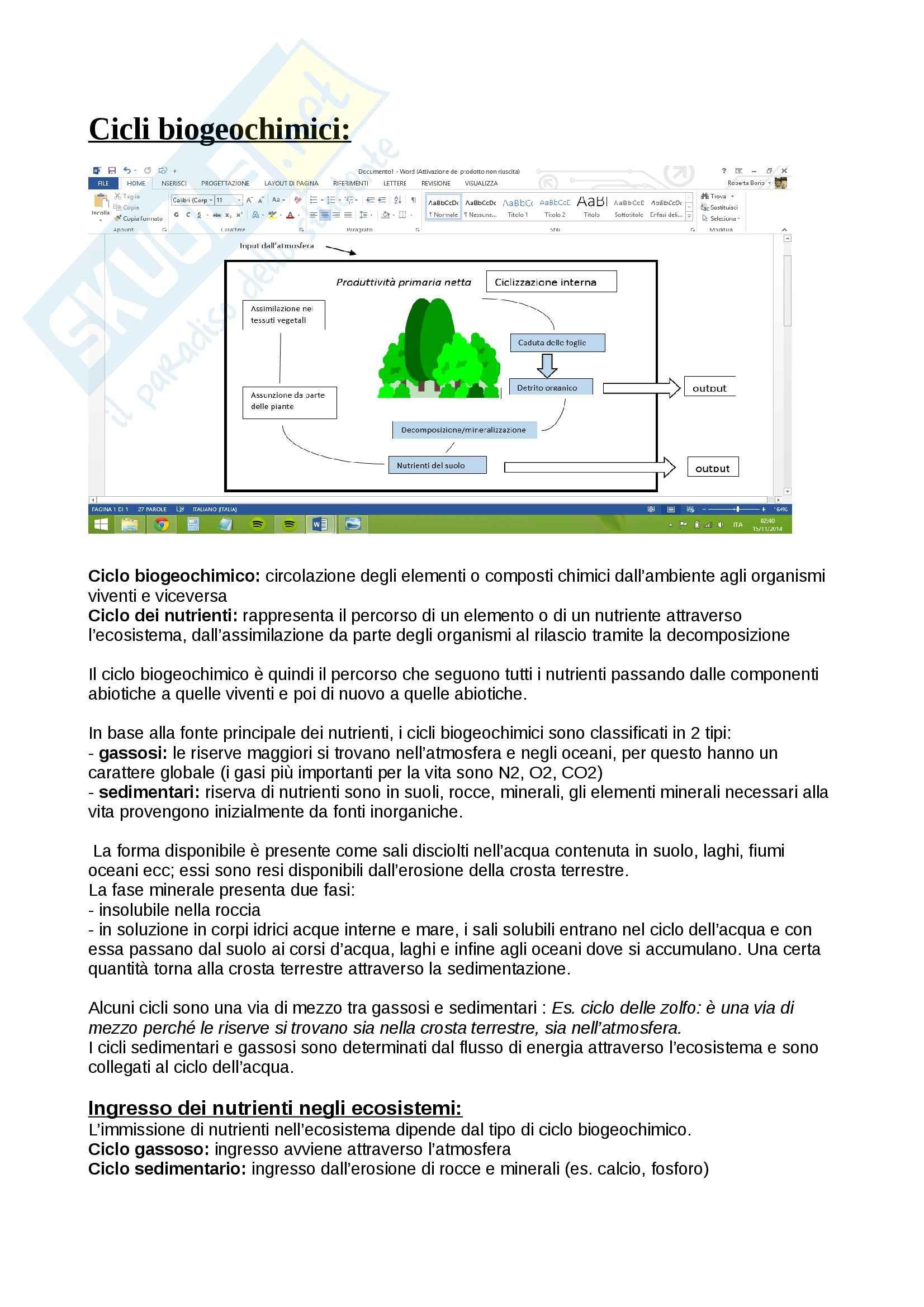 Ecologia 2 (cicli biogeochimici: fosforo, azoto, zolfo,acqua, ossigeno; proprietà delle popolazioni; competizione, tabelle di vita)