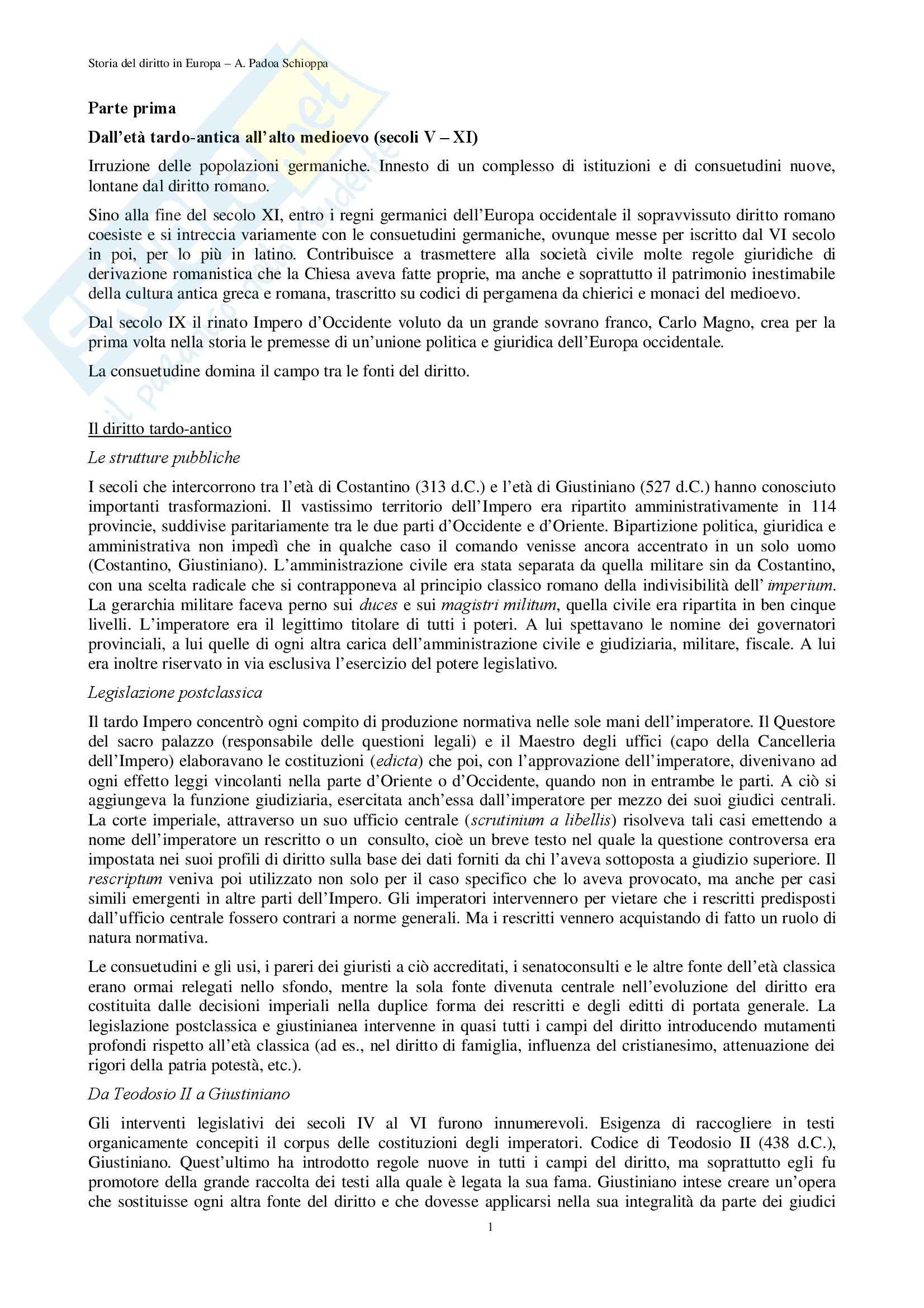 Storia del diritto medievale e moderno - Appunti
