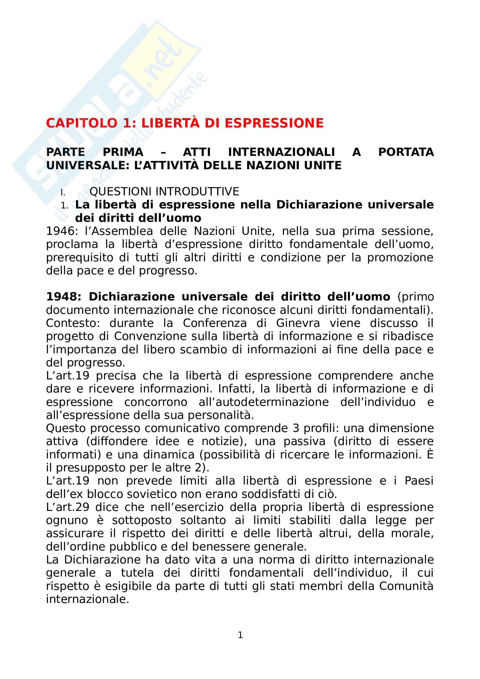Riassunto esame Diritto dell'Informazione, prof. Migliazza, libro consigliato Profili di Diritto Europeo, Parisi Pag. 1