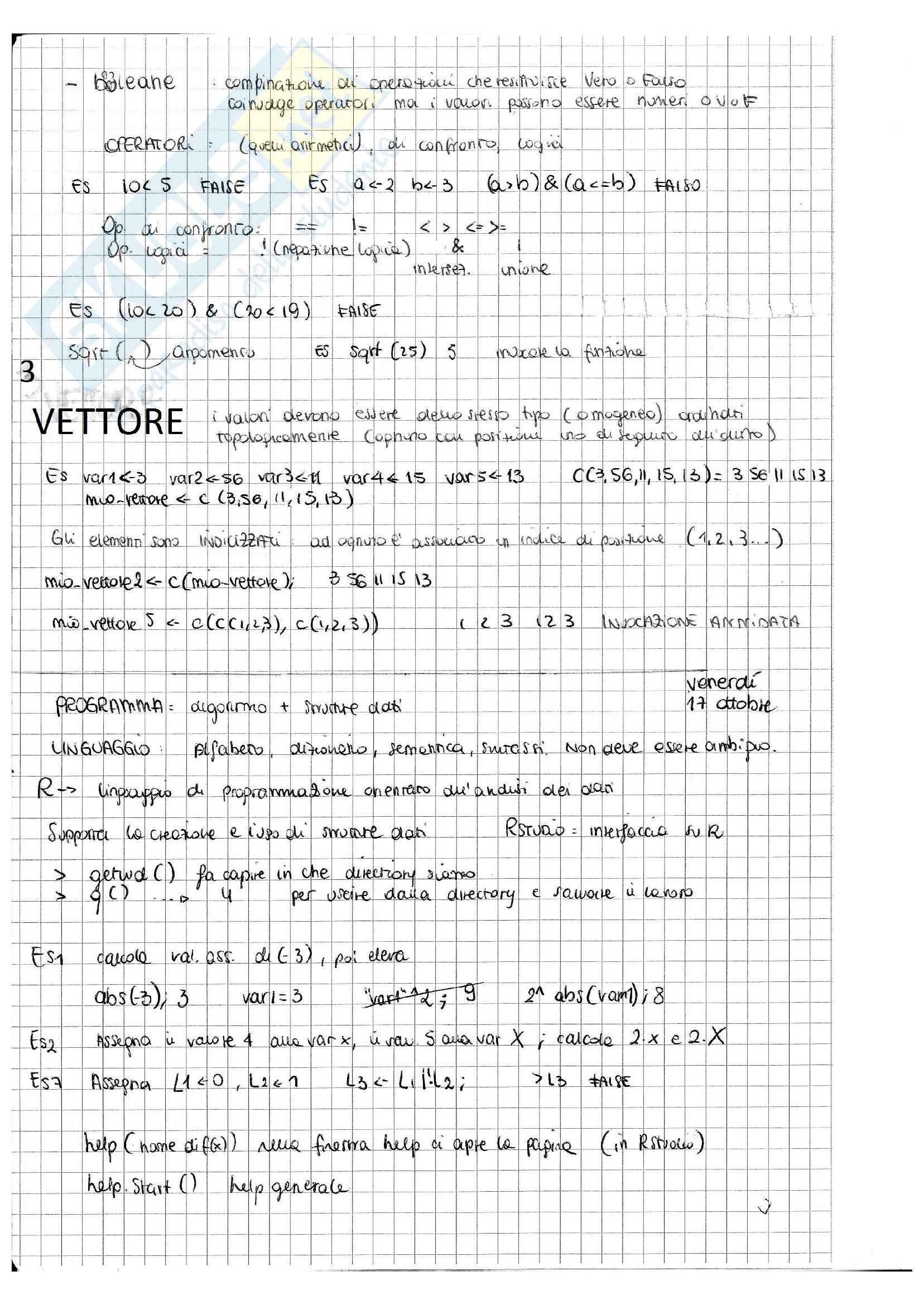 """Informatica e Programmazione in ambiente statistico """"R"""" Pag. 11"""