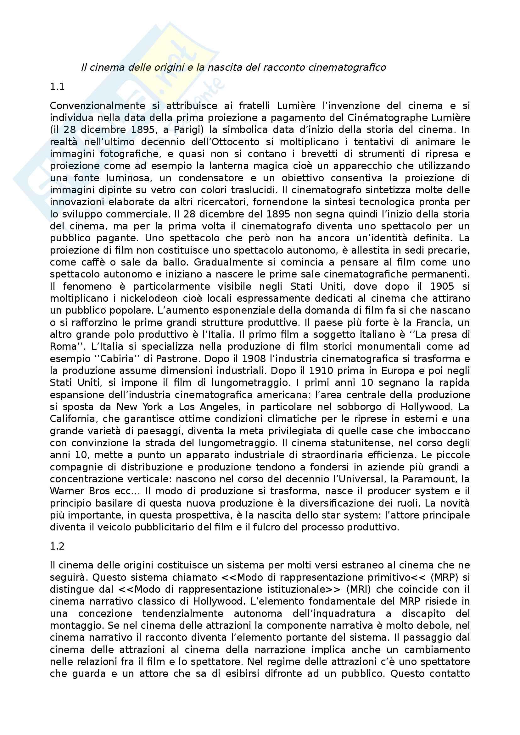 Riassunto esame Storia e critica del cinema, prof. Annunziata, libro consigliato Introduzione alla storia del cinema, Bertetto