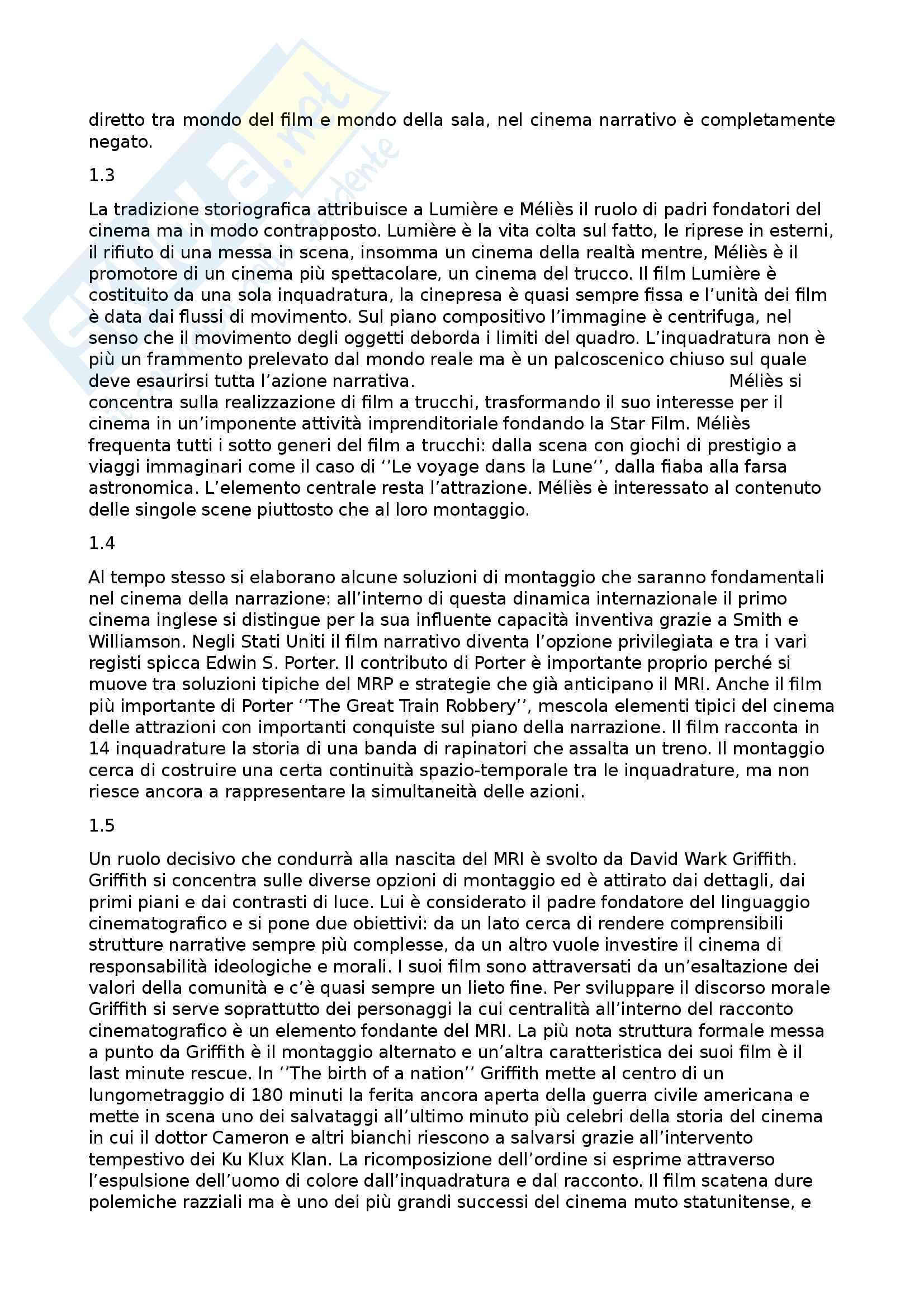 Riassunto esame Storia e critica del cinema, prof. Annunziata, libro consigliato Introduzione alla storia del cinema, Bertetto Pag. 2