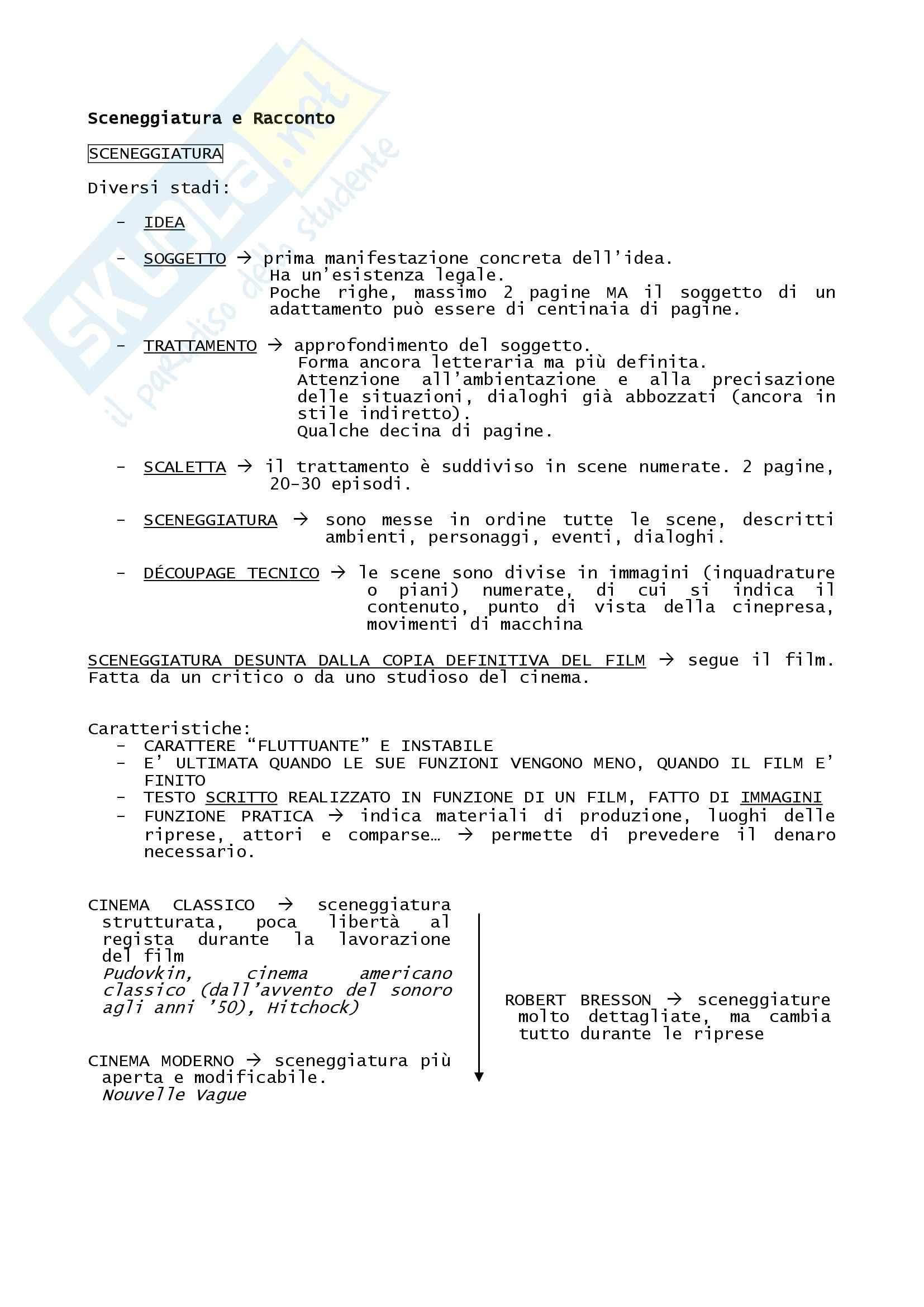 Riassunto esame Tecniche e Linguaggi del Cinema e dell'Audiovisivo, prof. Di Donato, libro consigliato Manuale del Film, Rondolino