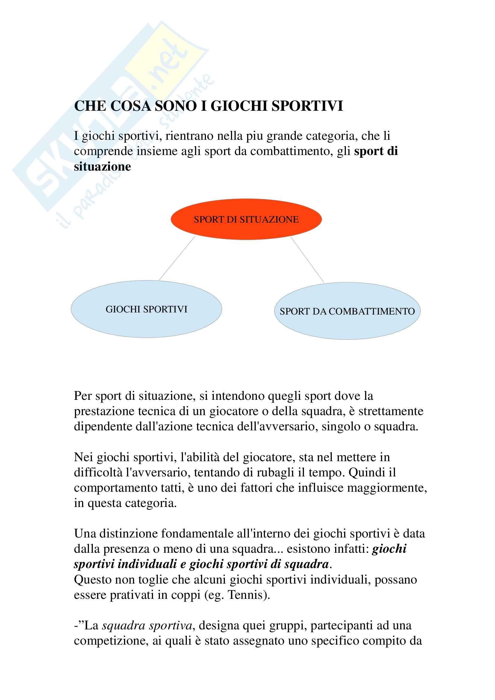 Riassunto esame Giochi Sportivi, prof. Tessitore Pag. 6