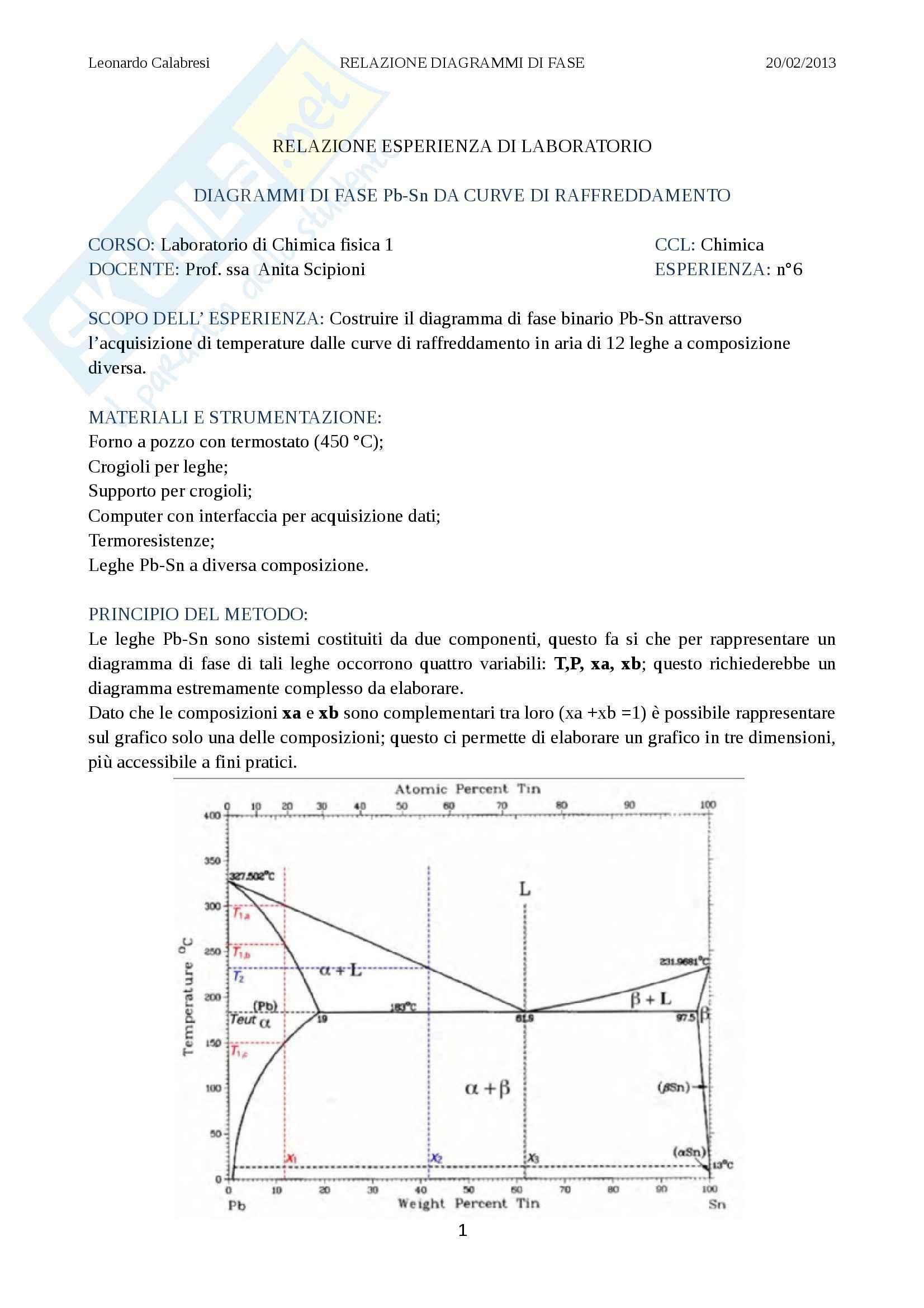 Relazione laboratorio (diagrammi di fase), Chimica fisica