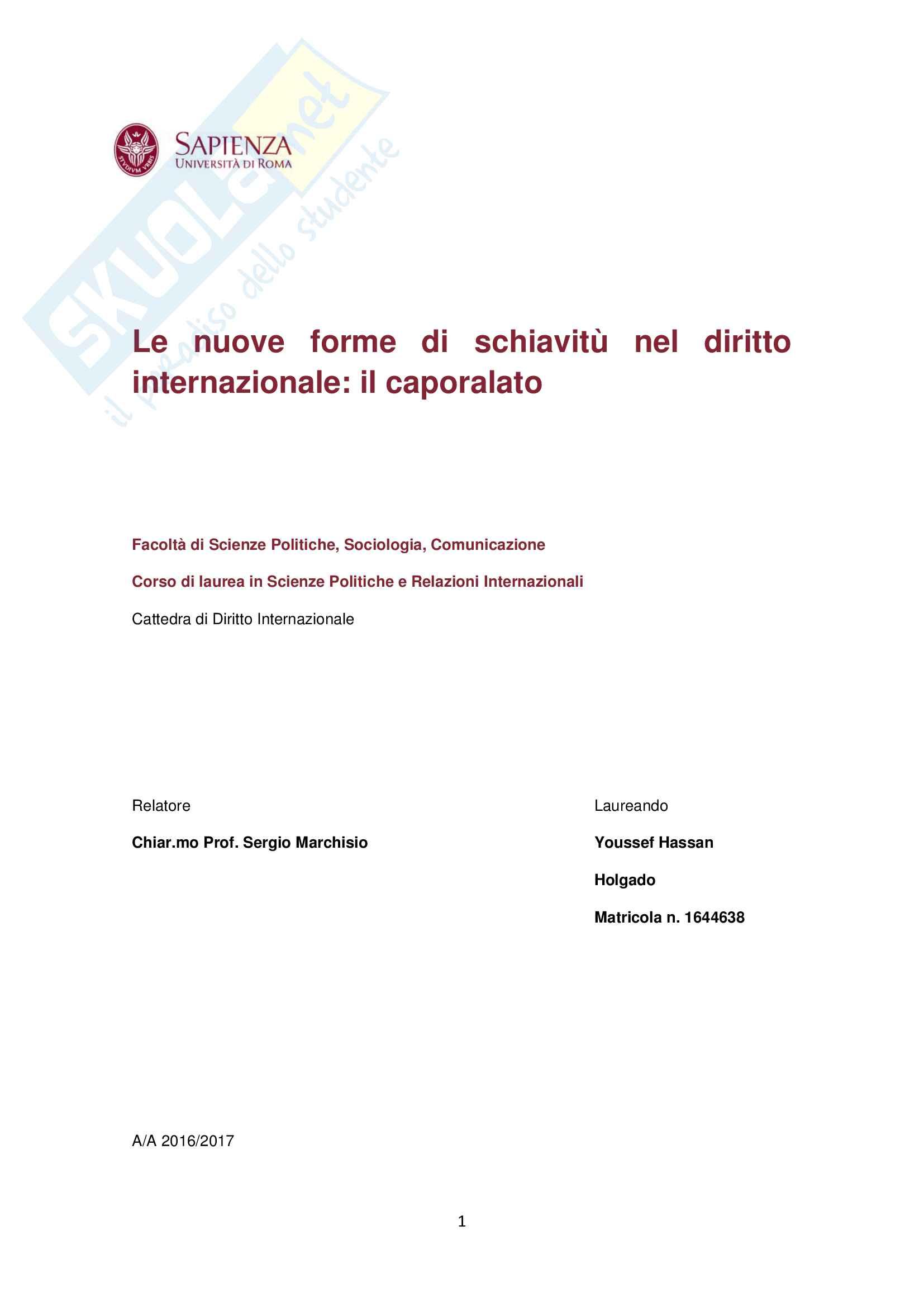 """Tesi """"Le nuove forme di schiavitù nel diritto internazionale: il caporalato"""""""
