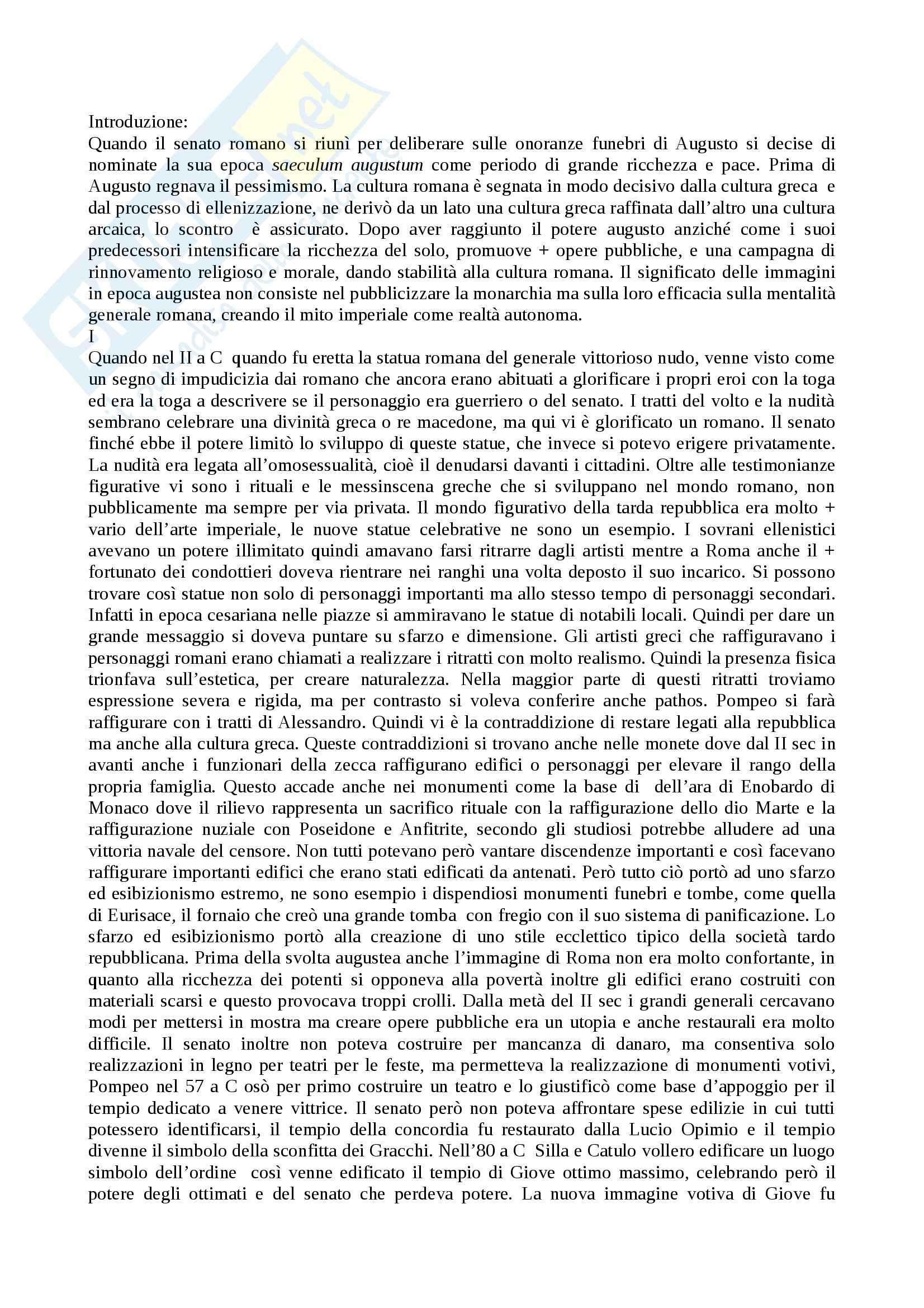 Riassunto esame Archeologia, prof. Slavazzi, libro consigliato Augusto e il potere delle immagini, Zenker