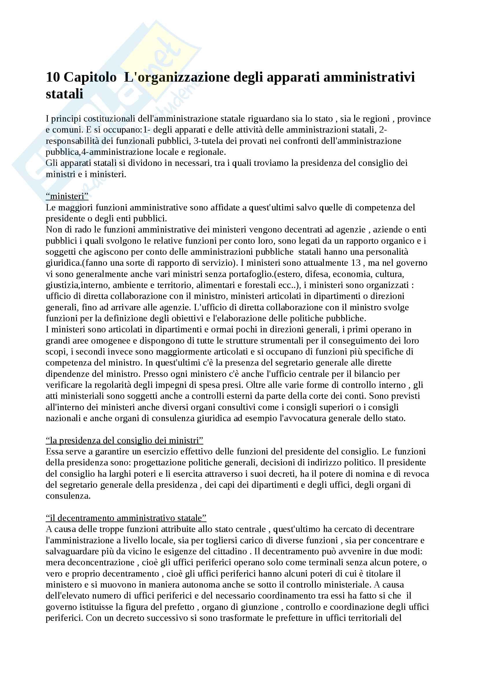 L 'organizzazione degli apparati amministrativi statali