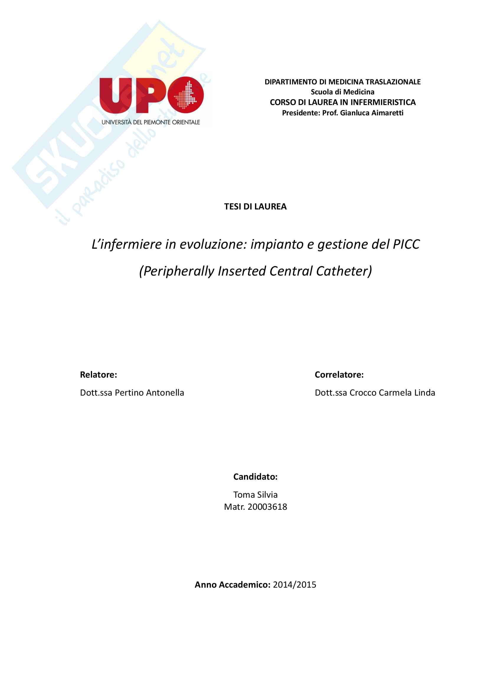 L'infermiere in evoluzione: impianto e gestione del PICC (Peripherally Inserted Central Catheter)