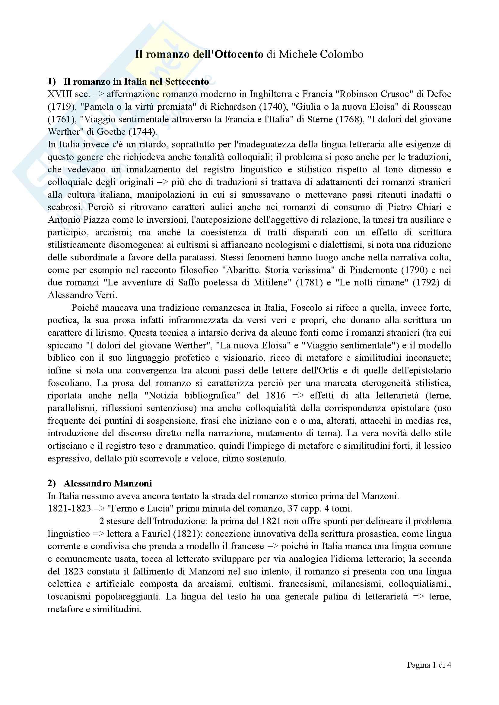 Riassunto esame Letteratura italiana, docente Danelon, libro consigliato Il romanzo dell'Ottocento, Colombo