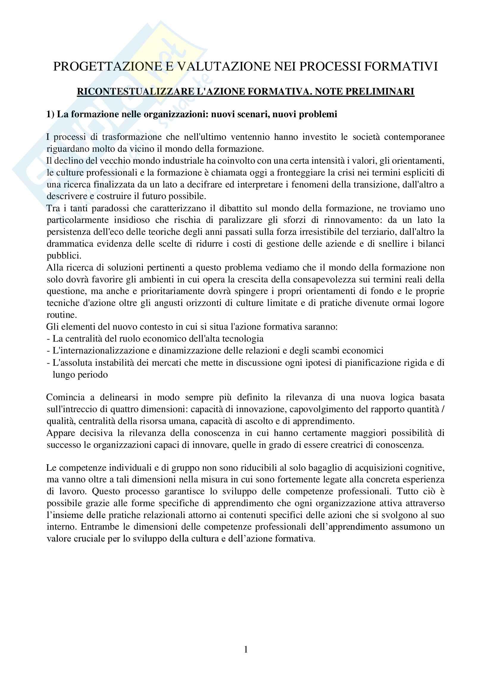 Riassunto esame progettazione e valutazione nei processi formativi, prof Cecconi, libro consigliato Progettazione e valutazione nei processi formativi, Lipari