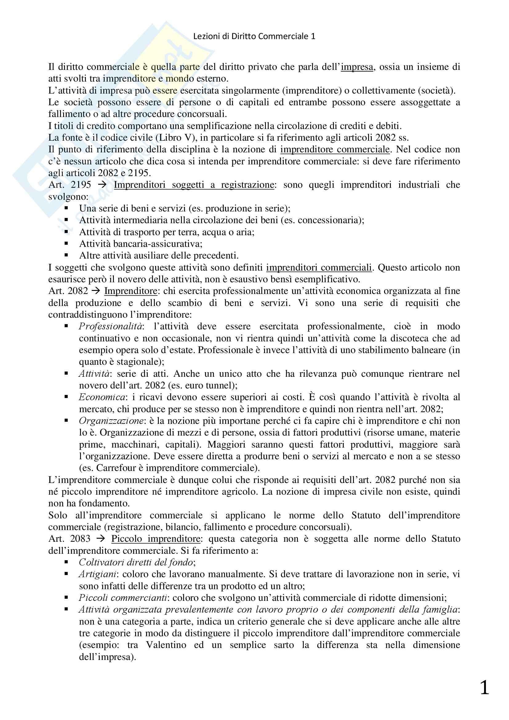 Diritto Commerciale 1 - Società di persone, titoli di credito, fallimento e concordato preventivo