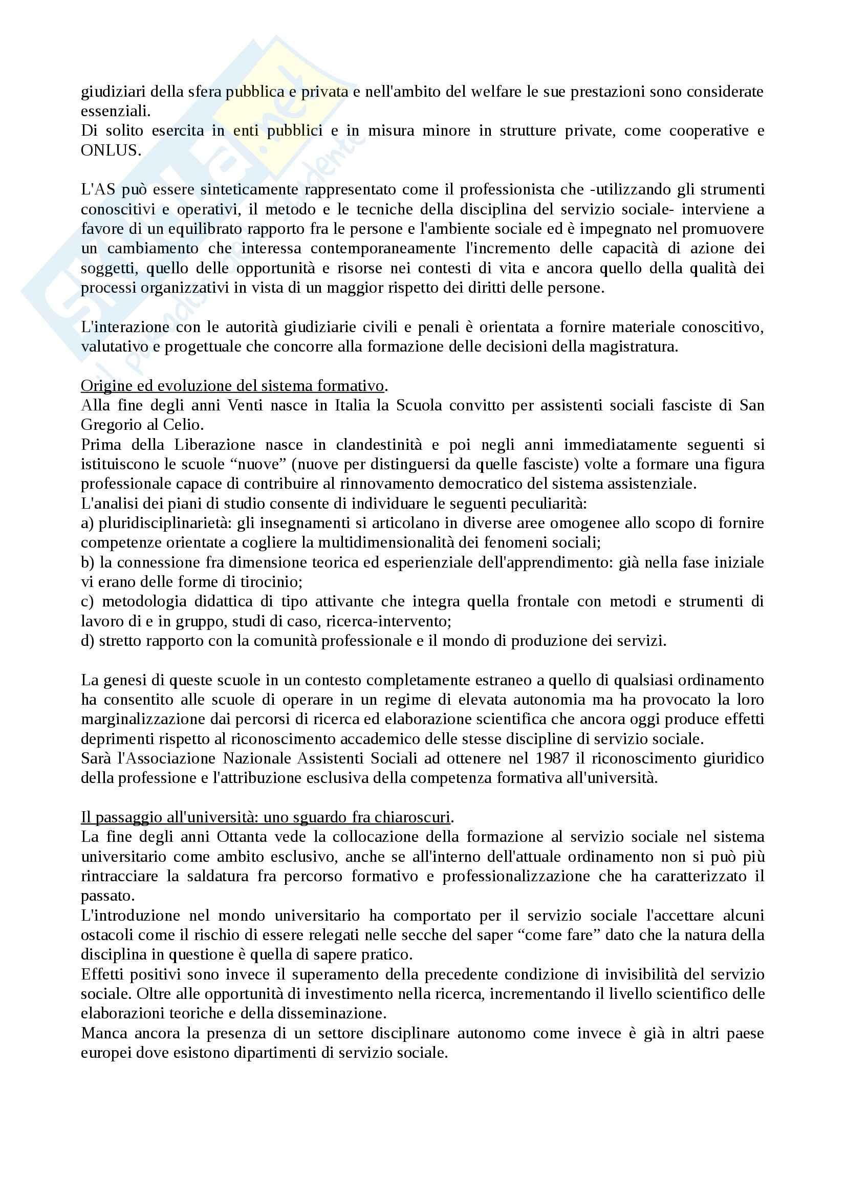 Riassunto esame Servizio sociale, prof. Dellavalle, libro consigliato Organizzare il servizio sociale Pag. 2