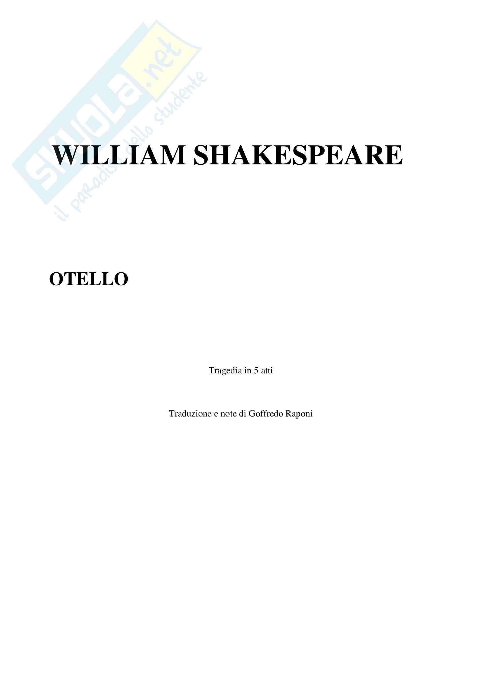 Otello, Shakespeare - Testo completo