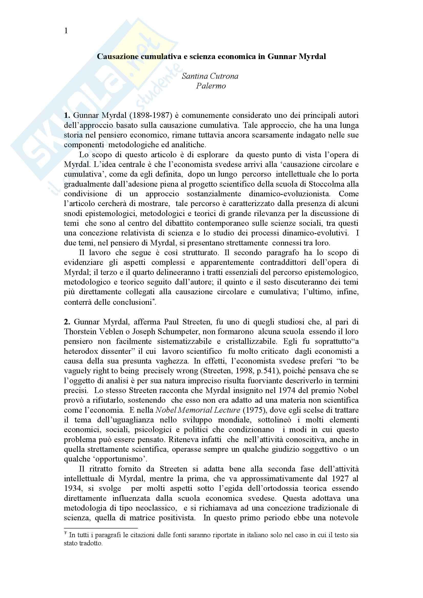 Causazione cumulativa e scienza economica, Myrdal - Appunti