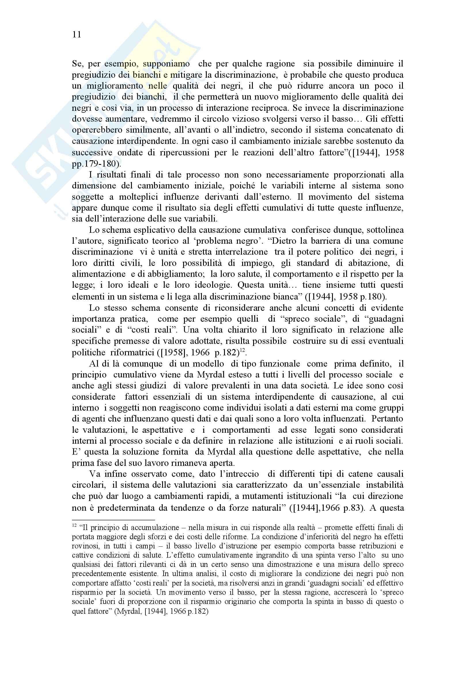 Causazione cumulativa e scienza economica, Myrdal - Appunti Pag. 11