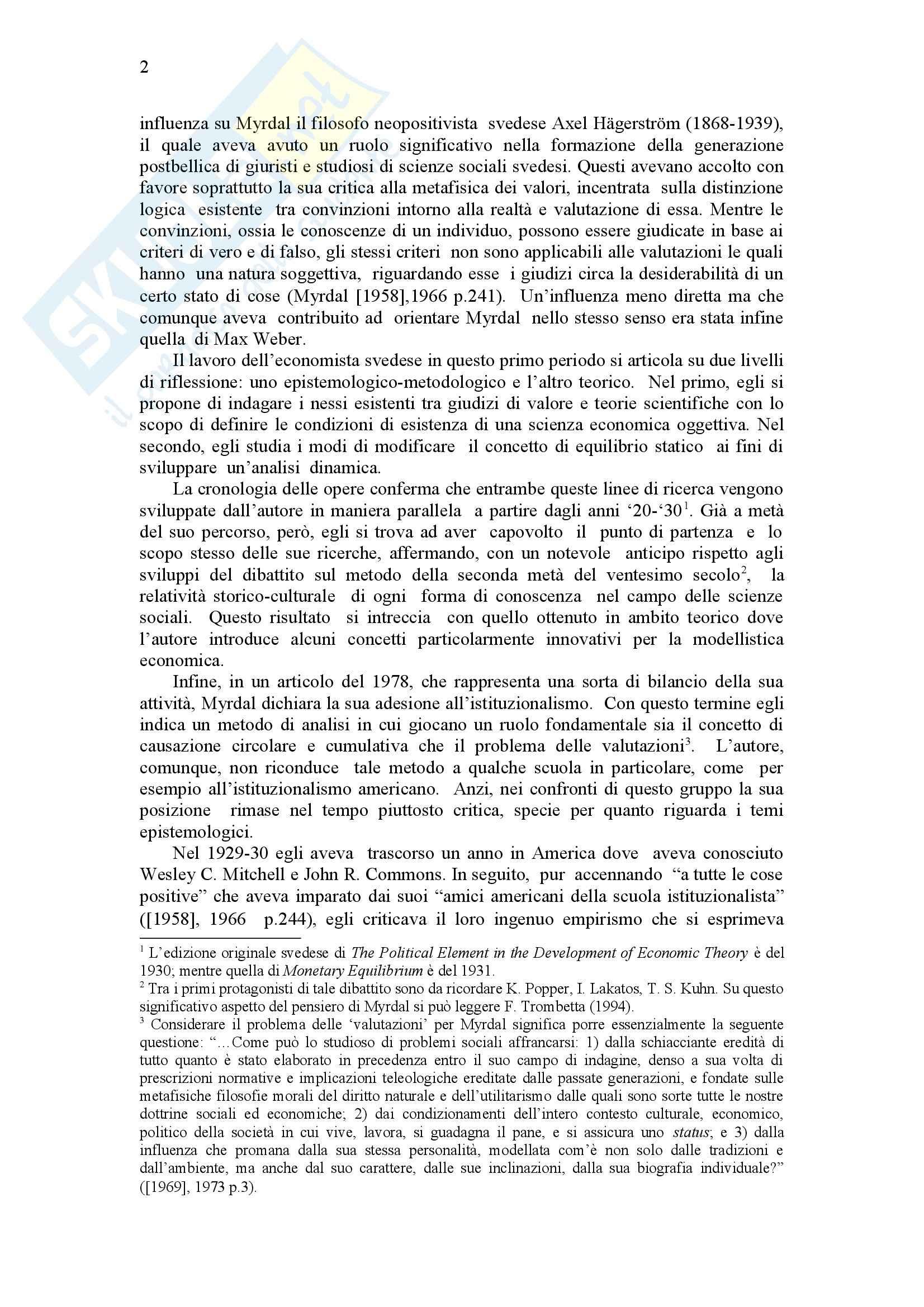 Causazione cumulativa e scienza economica, Myrdal - Appunti Pag. 2